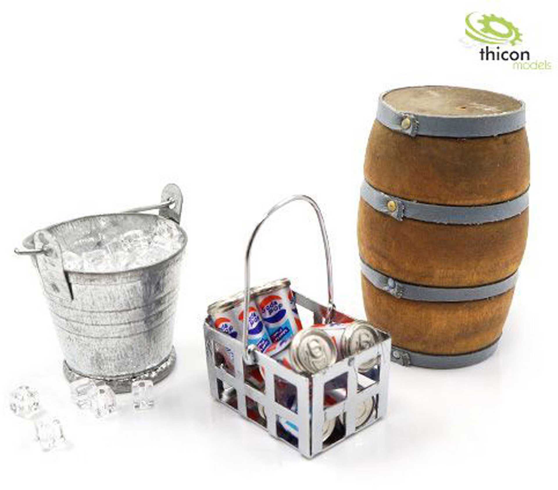 THICON-MODELS 1:10/1:14 CAMPING-SET 1 WITH WOOD FASS, BUCKET AND ICE CUBES