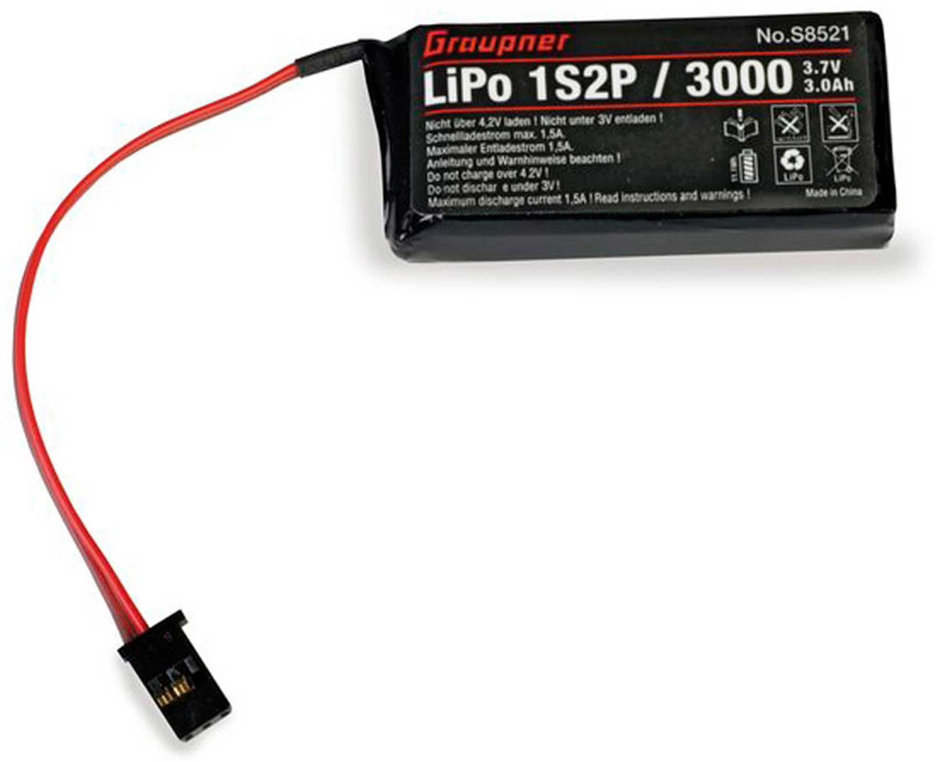 GRAUPNER TRANSMITTER BATTERY LIPO 1S2P/3000 3,7V FOR MZ-12