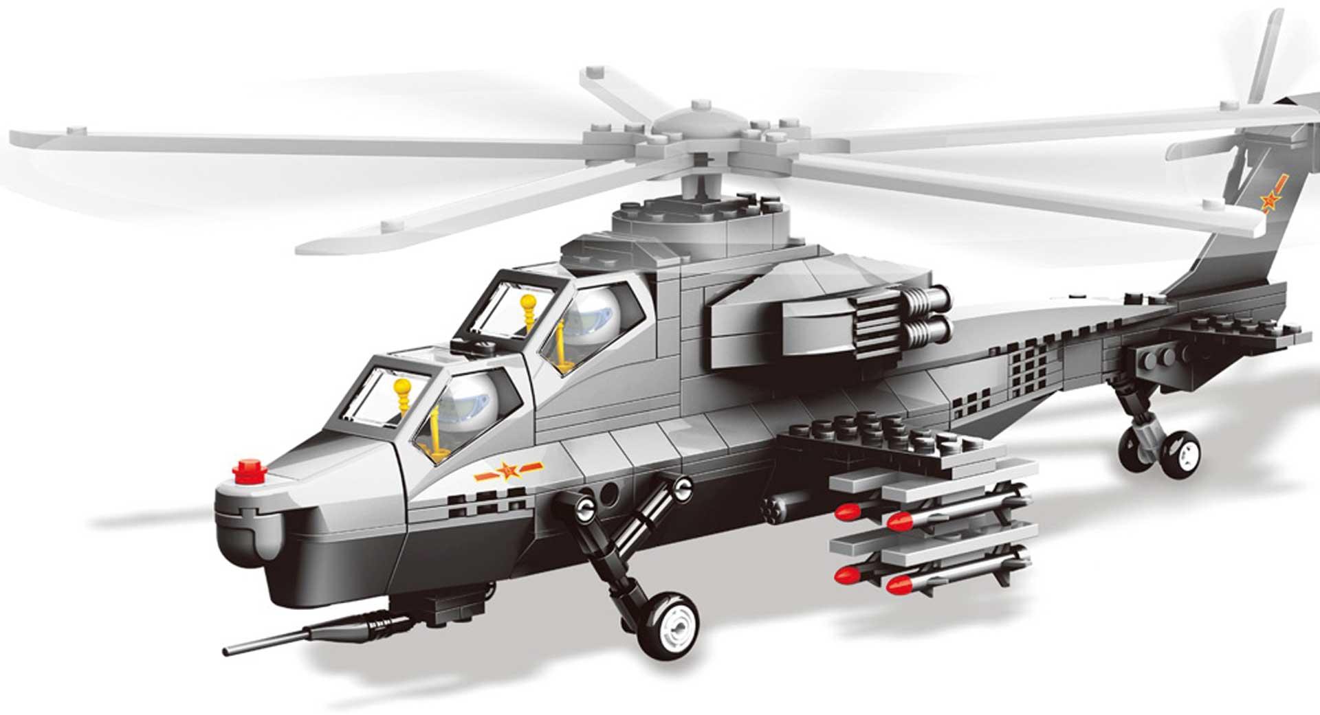 Wange WZ-10 Kampfhubschrauber (304 Teile) Klemmbausteine