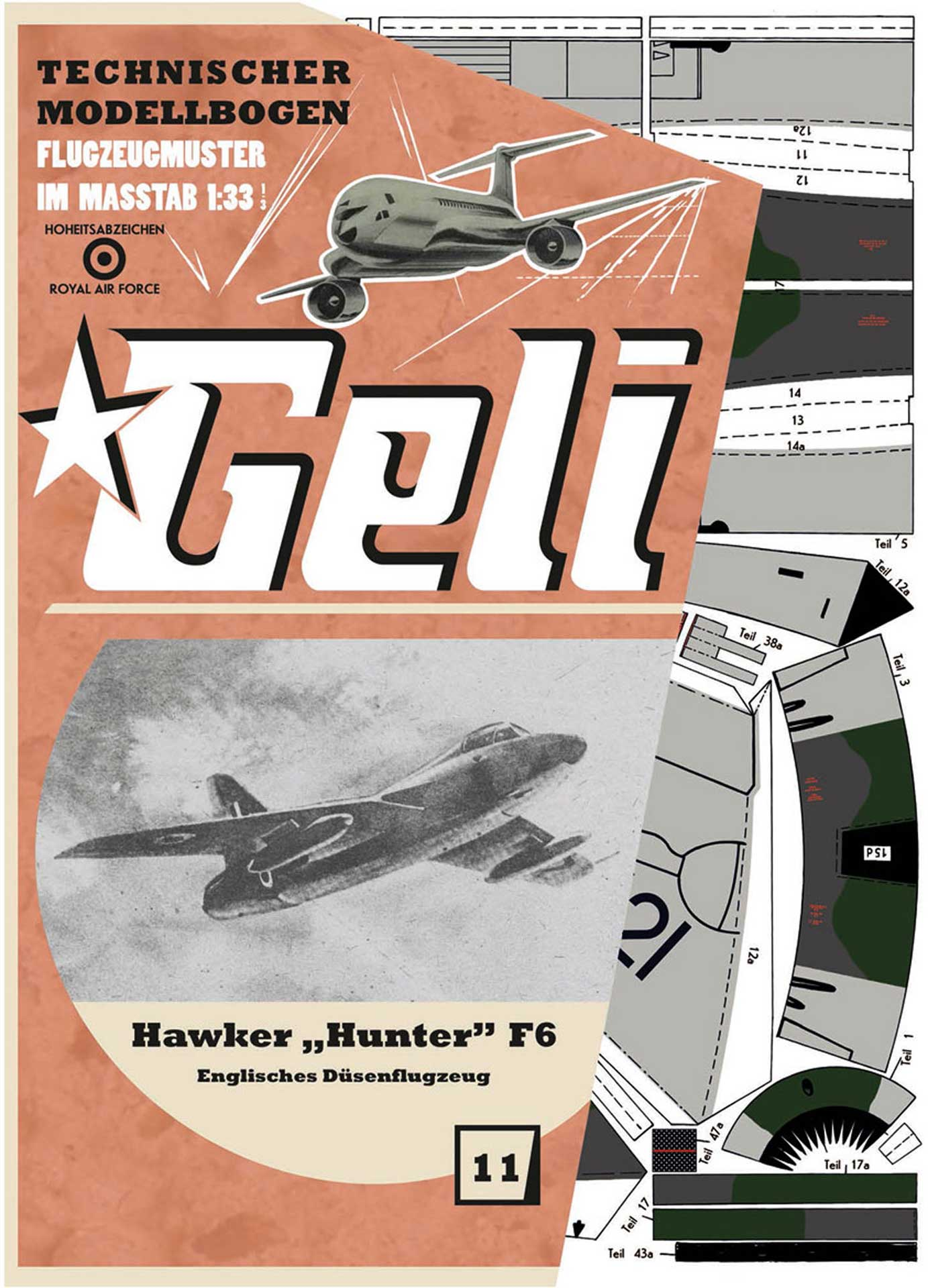 GELI HAWKER HUNTER F6 KARTONMODELL