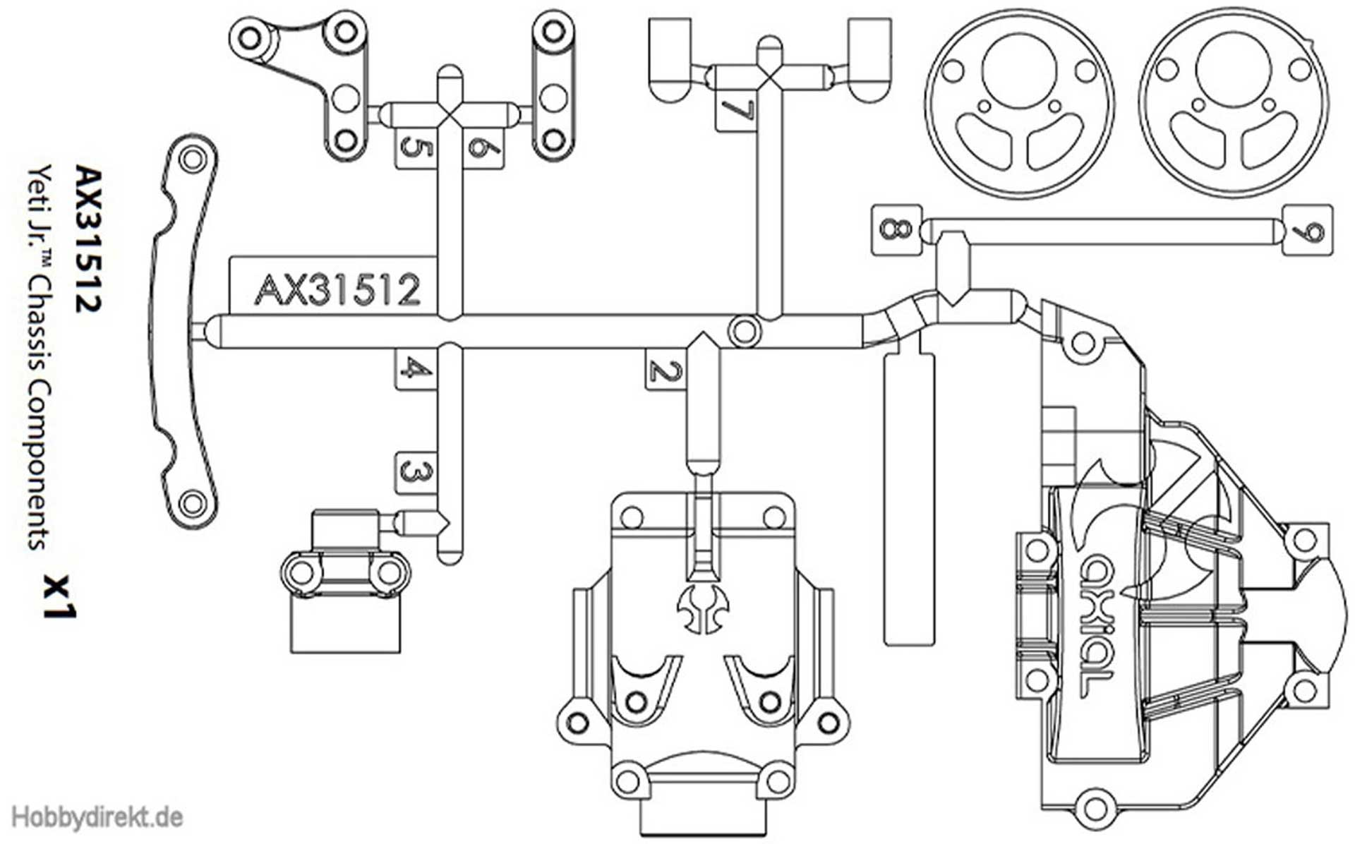 AXIAL CHASSIS COMPONENTS YETI JR.