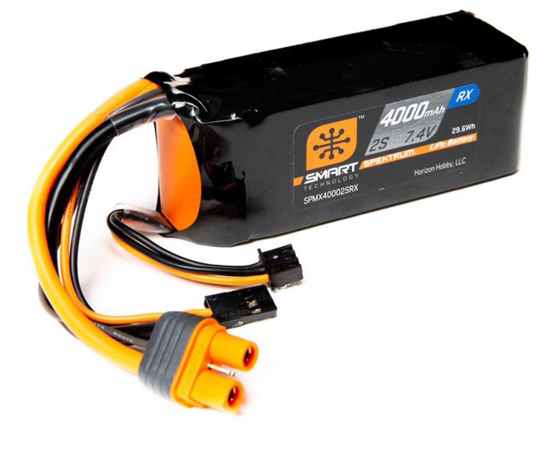 SPEKTRUM SMART LIPO RECEIVER PACK IC3 & SERVO CONNECTOR 2S 7,4V 4000MAH