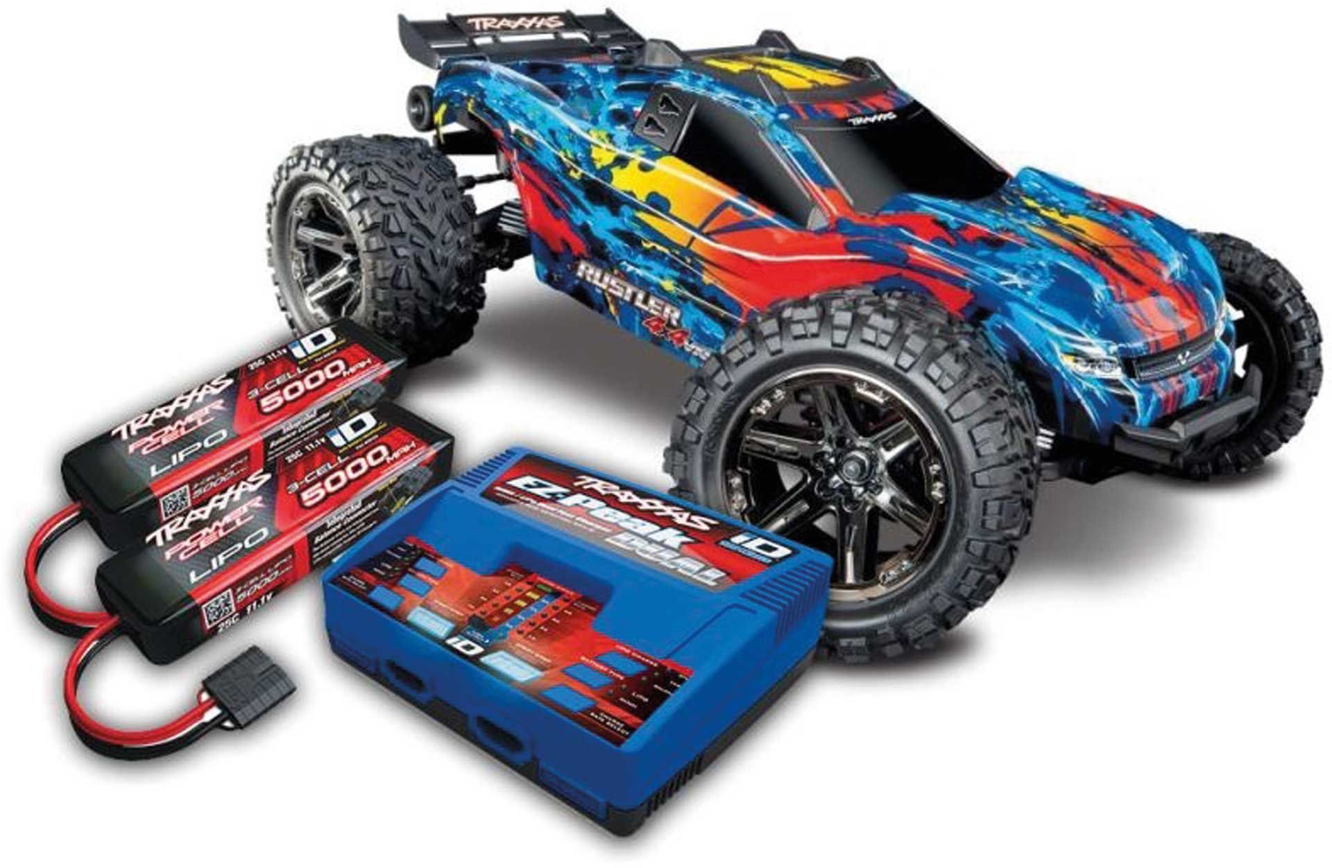 TRAXXAS RUSTLER 4X4 VXL BRUSHLESS RT/GE RTR MIT AKKU/LADER-SET *AKTION* 1/10 4WD STADIUM TRUCK (TRX67076-4 + TRX2990GX)