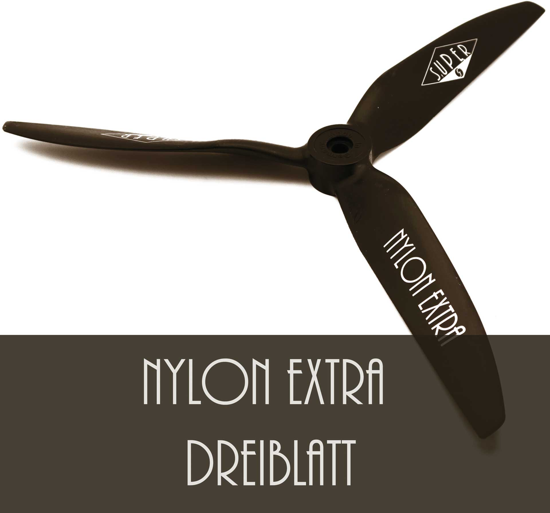 """Super Nylon Extra 3-Blatt Luftschraube 40x25 cm 16x10"""" schwarz rechts"""