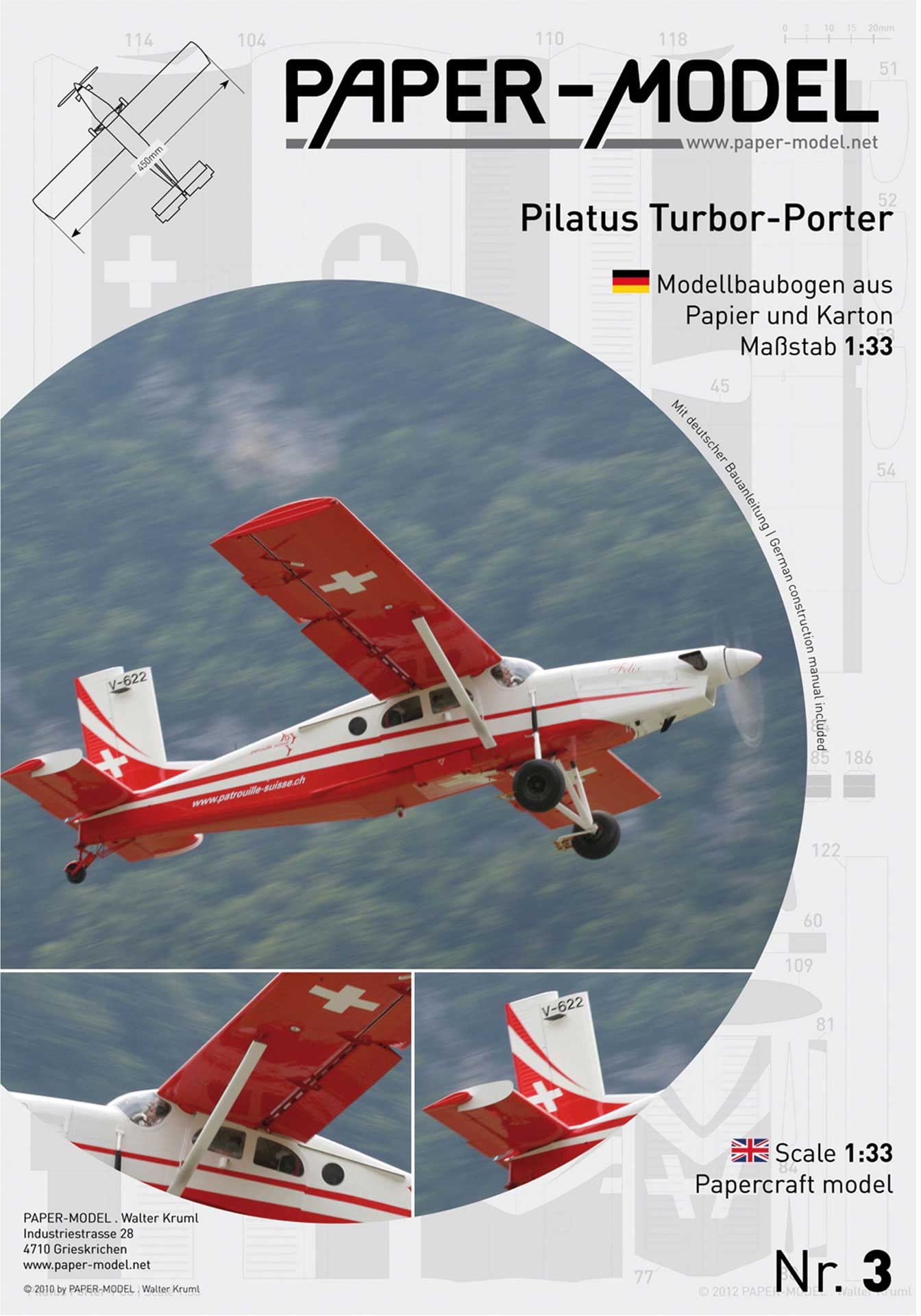 PAPER-MODEL Pilatus PC6 Turbo-Porter 1:33 Kartonmodell aus Papier und Karton