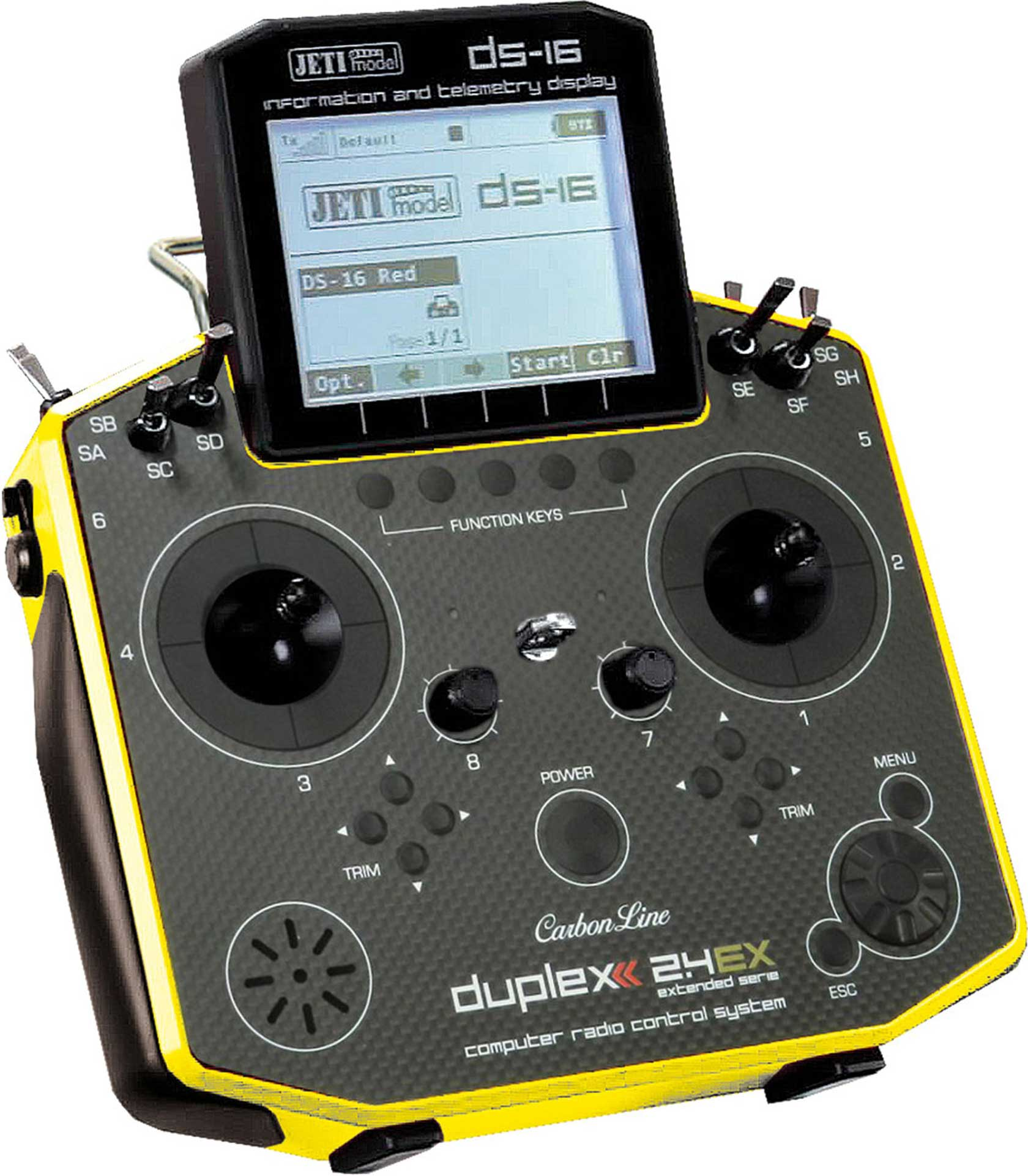 JETI DS-16 2.4EX DUPLEX CARBON MULTIMODE  YELLOW WITH R9 2.4EX RECEIVER TRANSMITTER