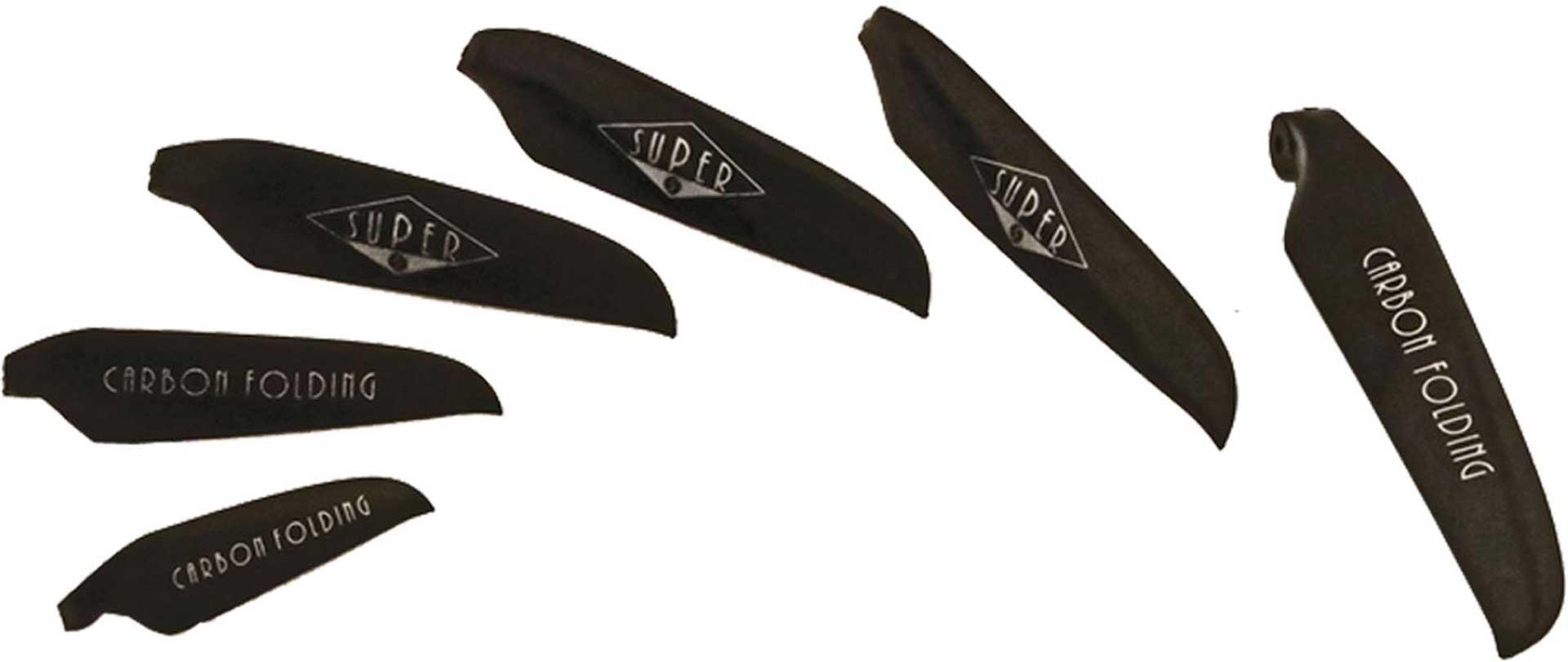 "SUPER CARBON FOLDING SPARE BLADES 13/10"" , 8MM LEAF ROOT 33/25CM BLACK 2PCS. AIR SCREW"