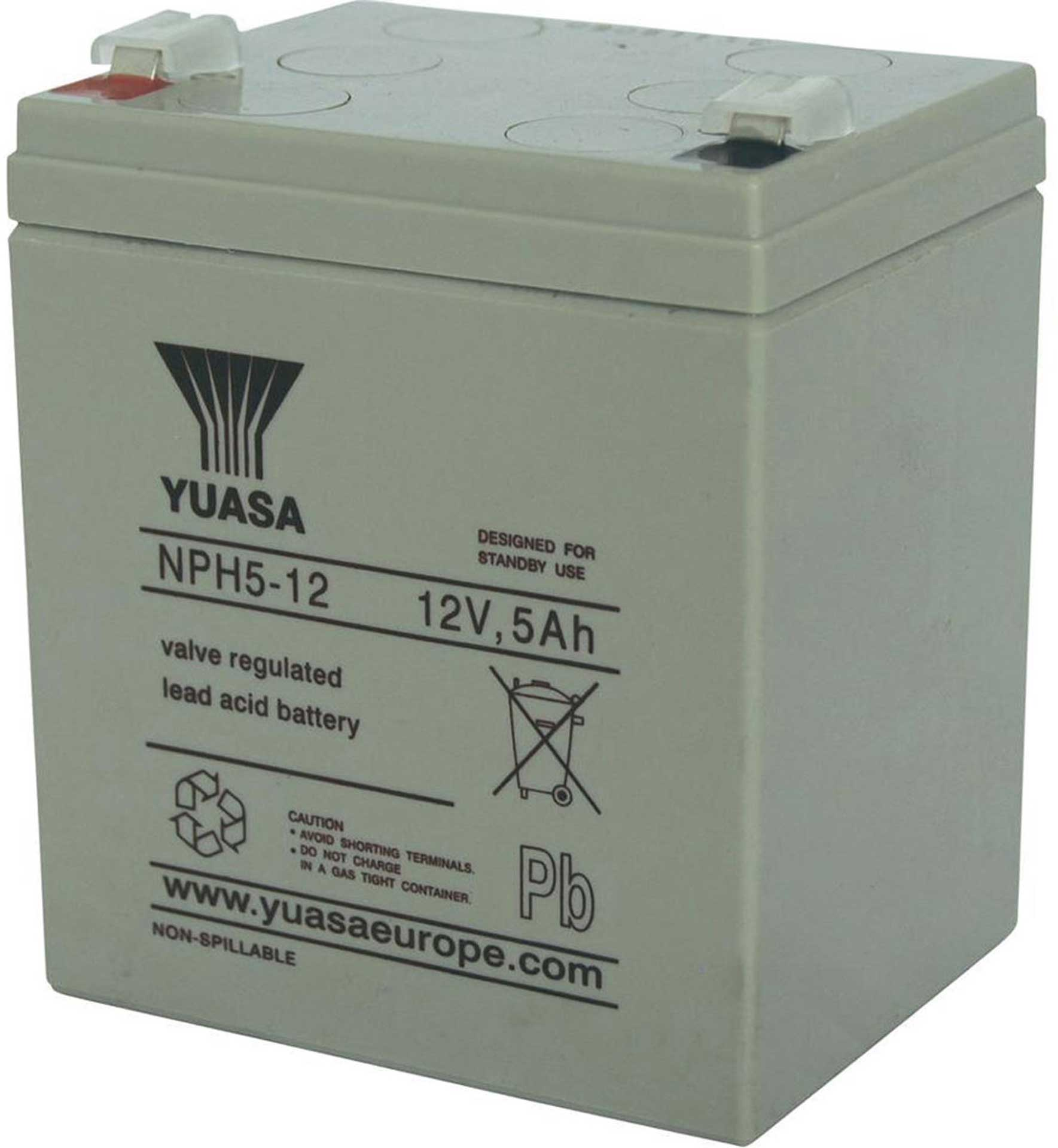 YUASA LEAD BATTERY 12V 5AH NPH5-12 HEAVY CURRENT A FASTON 6,3 H 106MM/B 90MM/T 70MM PLUMB
