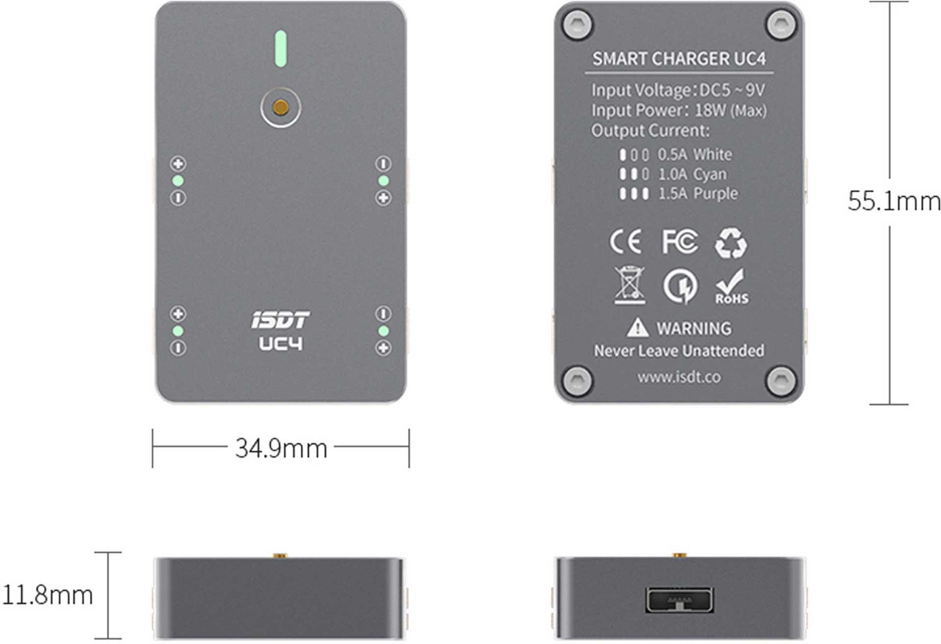 ISDT UC4 SMART CHARGER 4-FACH FÜR 1S LIPO MIT PH2.0 STECKSYSTEM Ladegerät