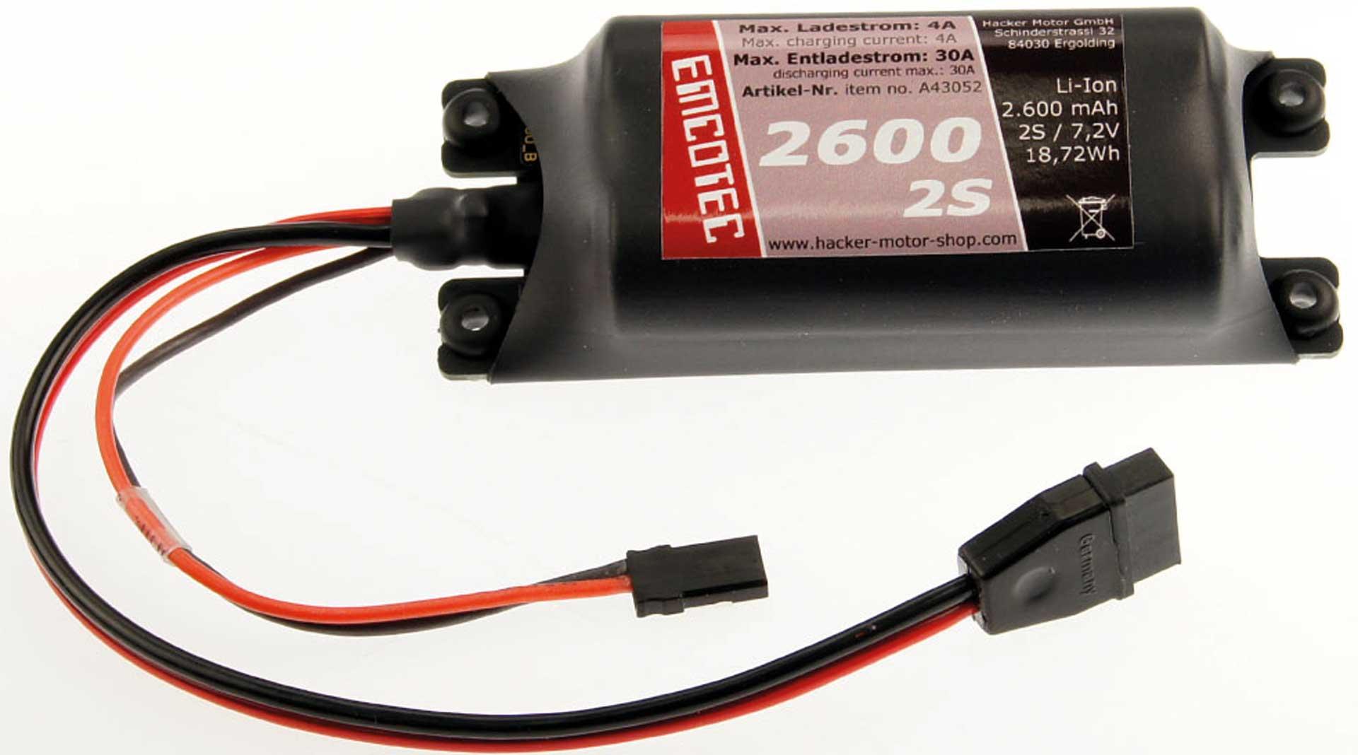 Emcotec LiIon-Akku 2600mAh 7,2V 2S Compact 30A Platine