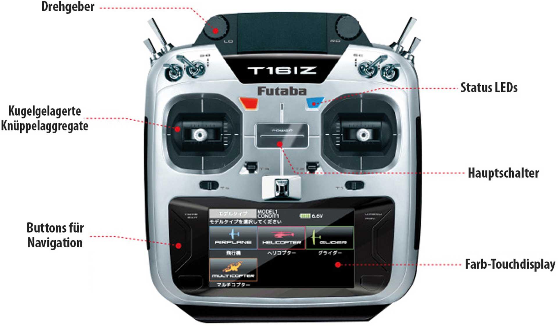FUTABA T16IZ FASSTest 2,4Ghz Fernsteuerung mit R7108SB