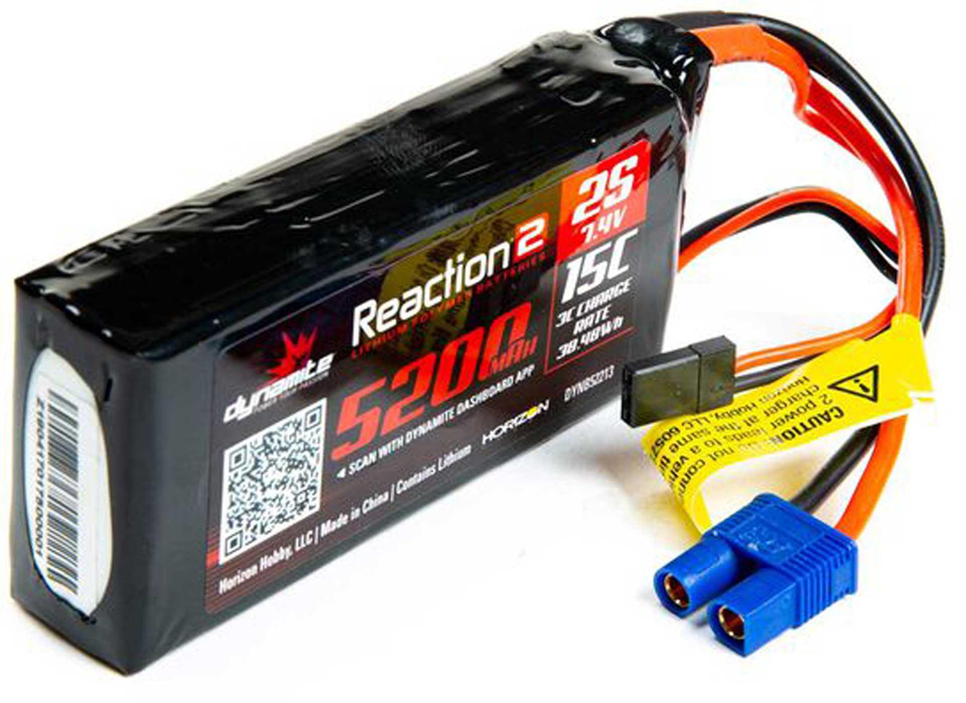 DYNAMITE 7.4V 5200mAh 2S 15C Reaction 2.0 LiPo Battery