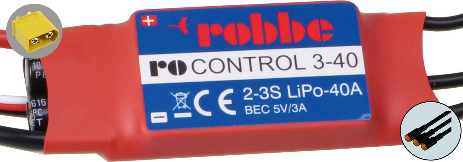 ROBBE RO-CONTROL 3-40 3-4S -40(55)A BRUSHLESS CONTROLLER 5V/3A BEC