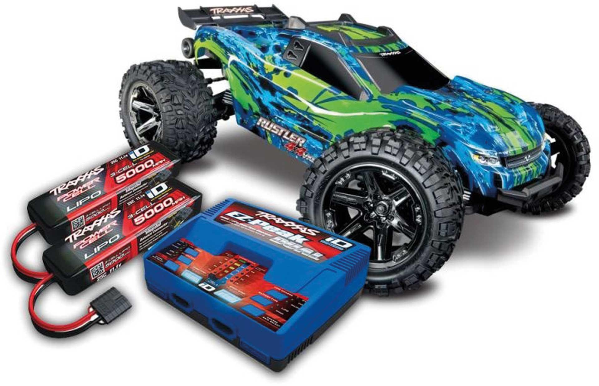 TRAXXAS RUSTLER 4X4 VXL BRUSHLESS GR/BL RTR MIT AKKU/LADER-SET *AKTION* 1/10 4WD STADIUM TRUCK (TRX67076-4 + TRX2990GX)