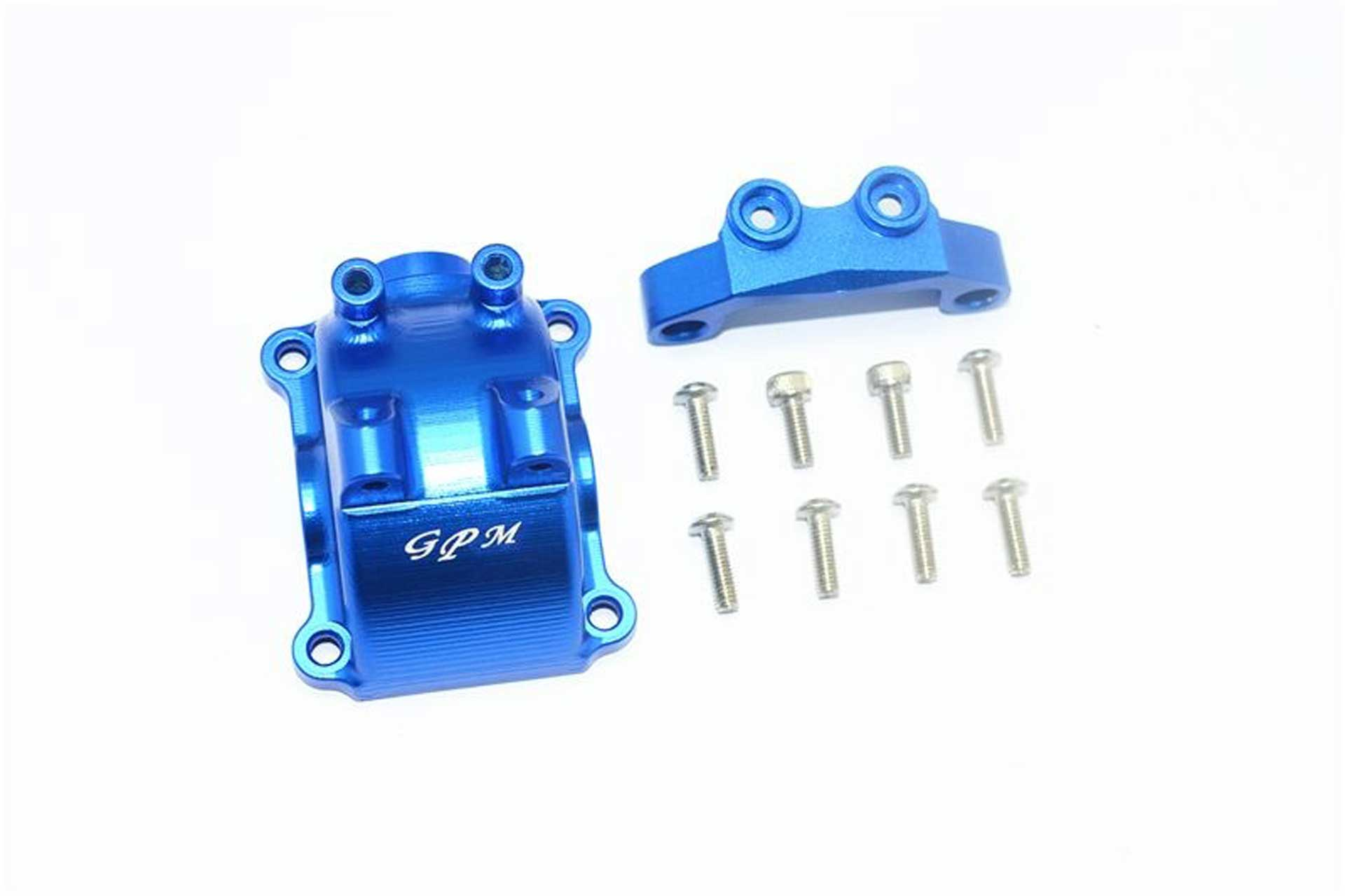 GPM ALU FRONT/REAR GEARBOX COVER+UPPER ARM ST ABILIZER -10PC SET blue GPM TAMIYA TT-02
