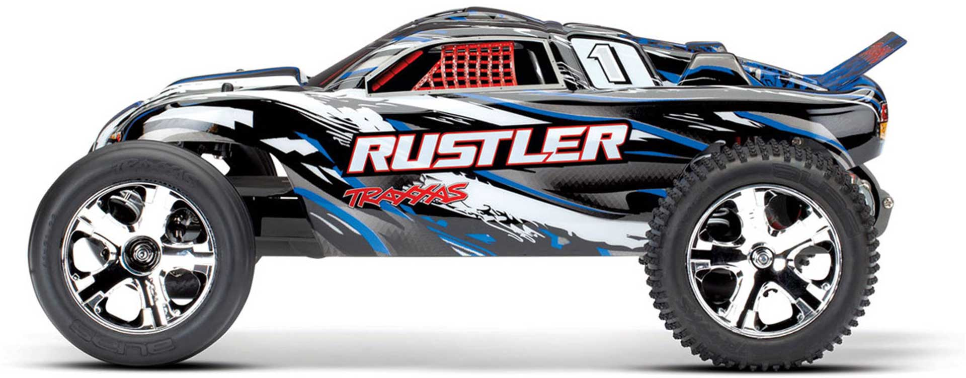 TRAXXAS RUSTLER BLUE MONSTER TRUCK BRUSHED 1/10 2WD RTR + 12V CHARGER AND BATTERY