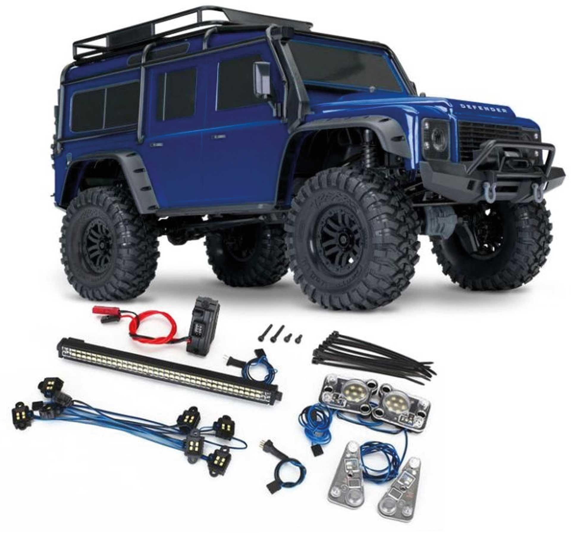 TRAXXAS TRX-4 LR DEFENDER 4X4 METALLICBLAU RTR MIT LICHT-SET 1/10 4WD SCALE-CRAWLER BRUSHED (TRX82056 + TRX8030) *AKTION*