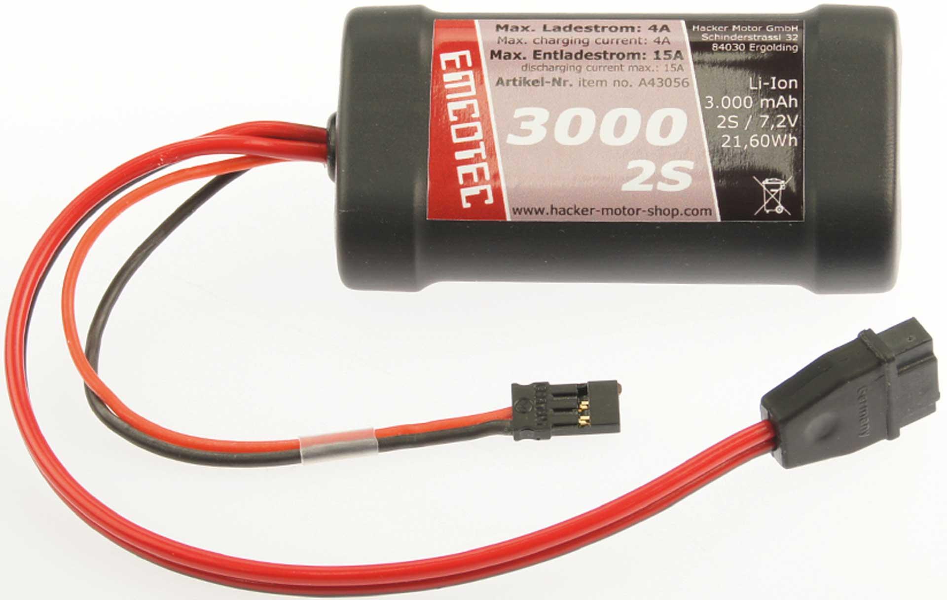 Emcotec LiIon-Akku 3000mAh 7,2V 2S Compact 15A