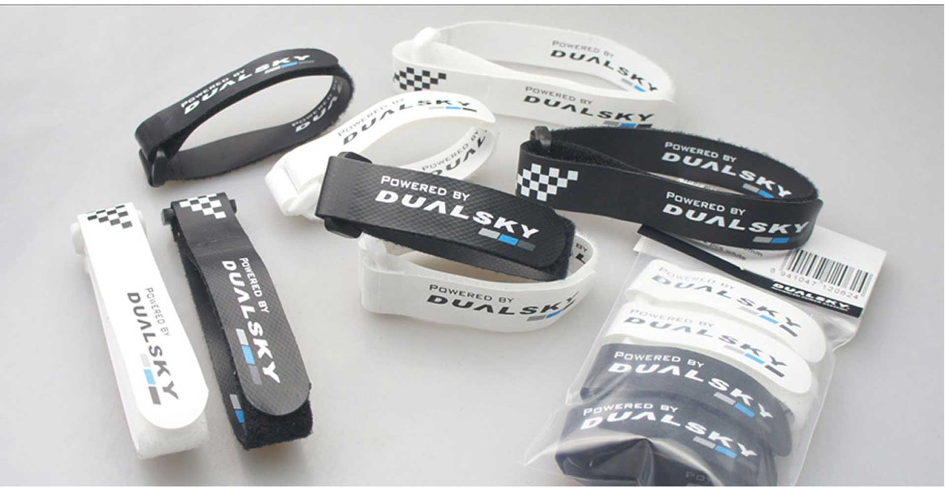 DUALSKY BATTERY FASTENER V2 280MM BATTERY VELCRO 2PCS. WHITE, 2STK. BLACK