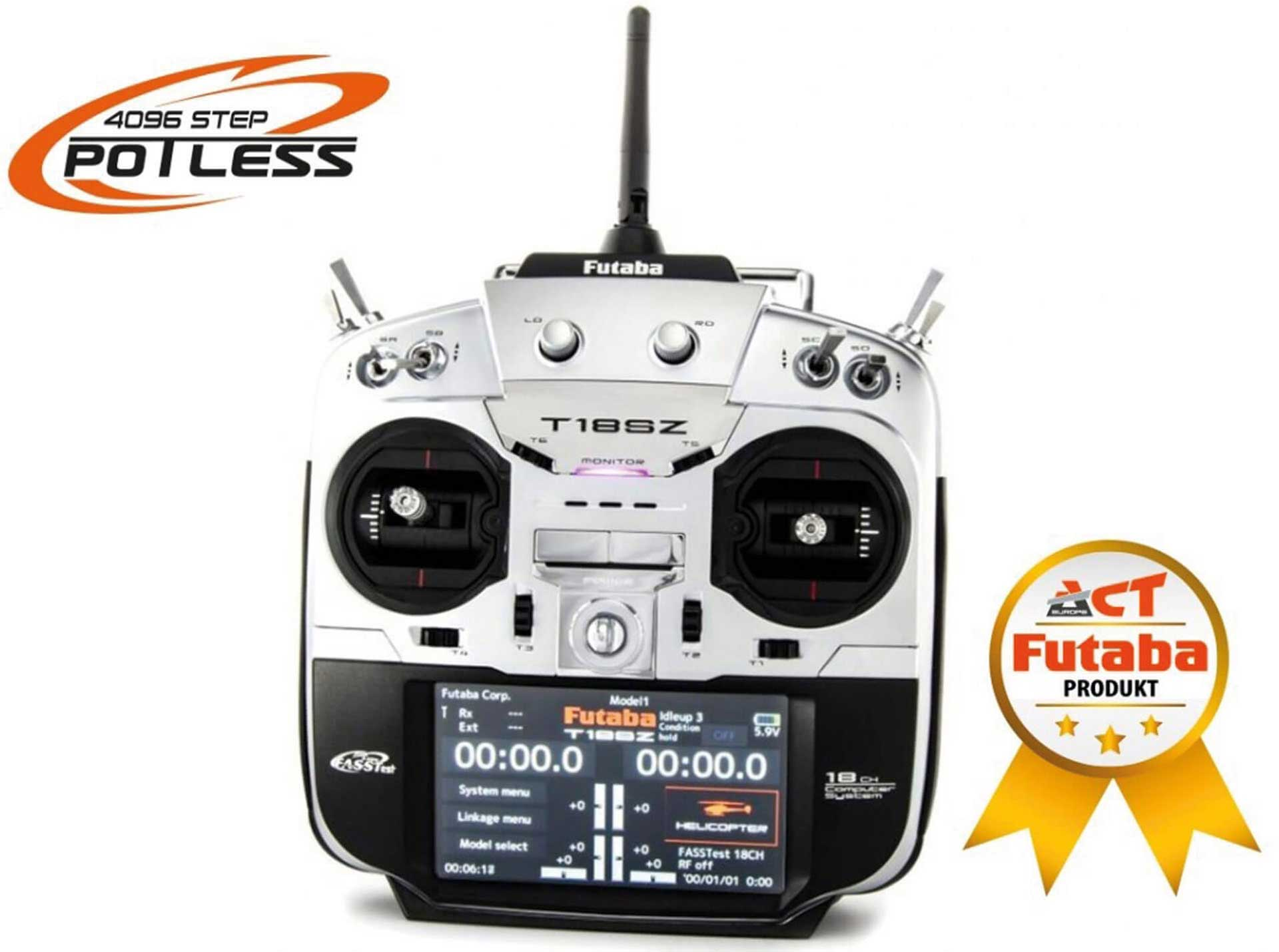 FUTABA T18SZ DRUM TEST POTLESS MODE 1 WITH R7014SB 18 CHANNEL REMOTE CONTROL