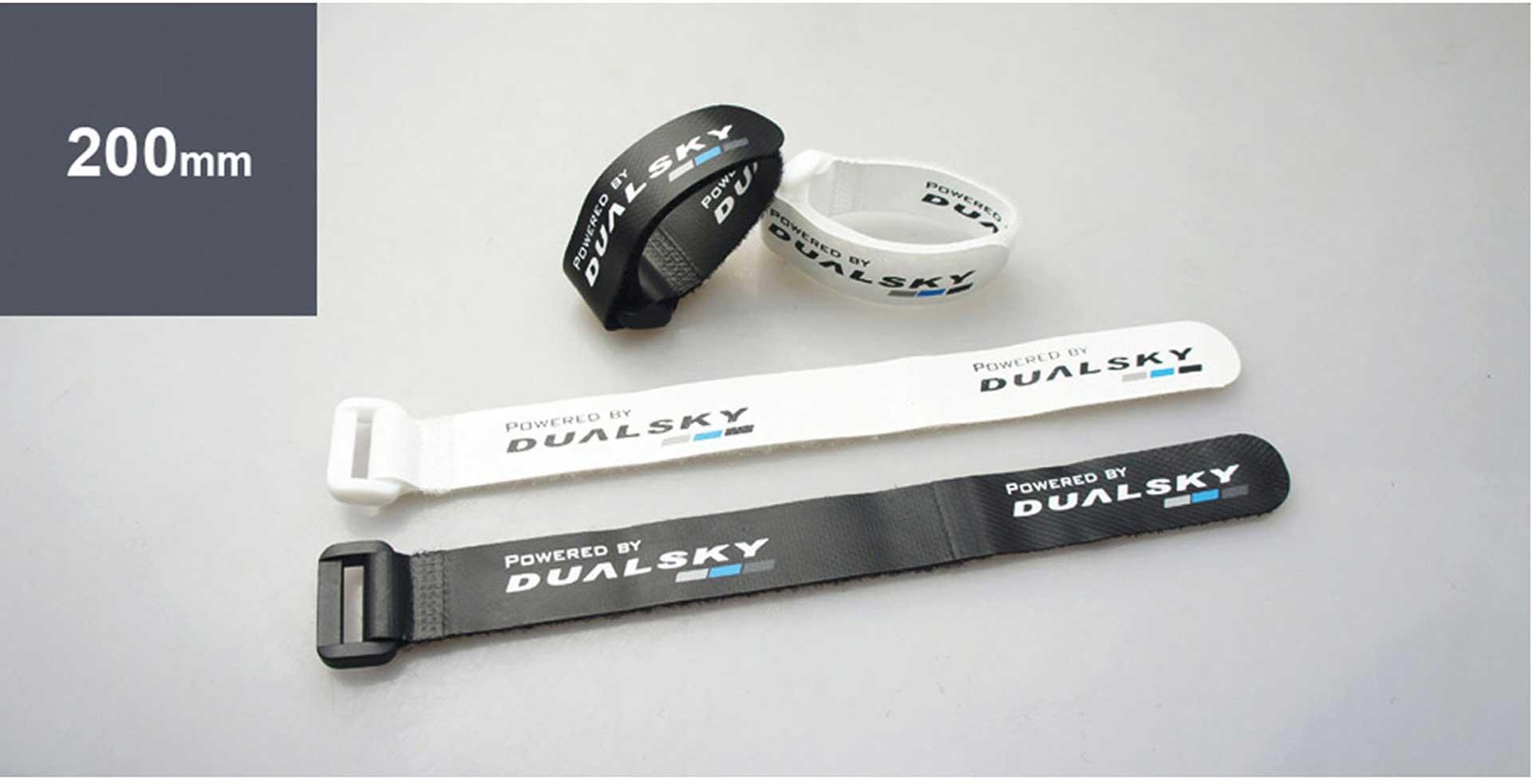 DUALSKY BATTERY FASTENER V2 200MM BATTERY VELCRO 2PCS. WHITE, 2STK. BLACK
