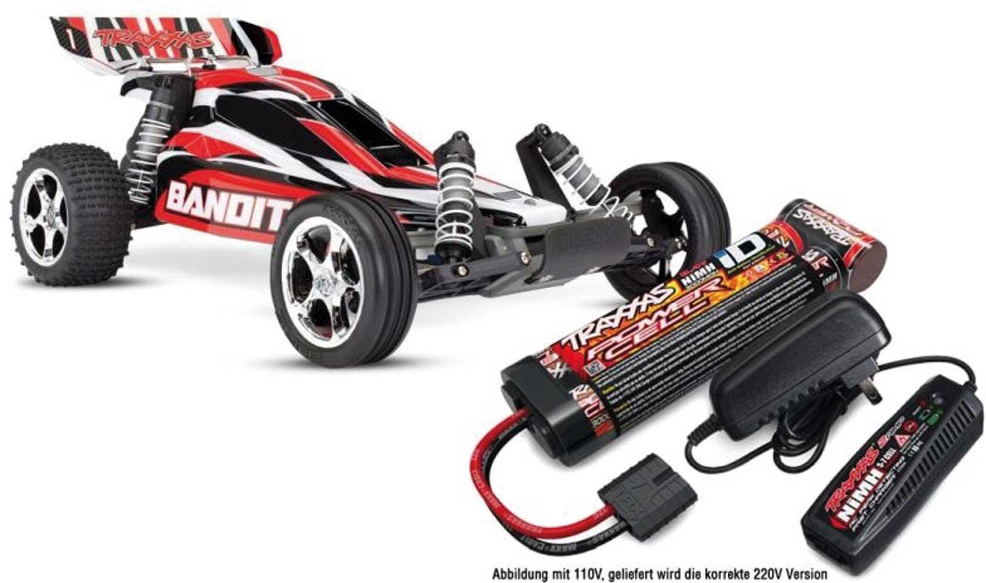 TRAXXAS BANDIT ROT BUGGY RTR MIT AKKU/LADER-SET *AKTION* 1/10 2WD BUGGY BRUSHED (TRX24054-4 + TRX2983G)