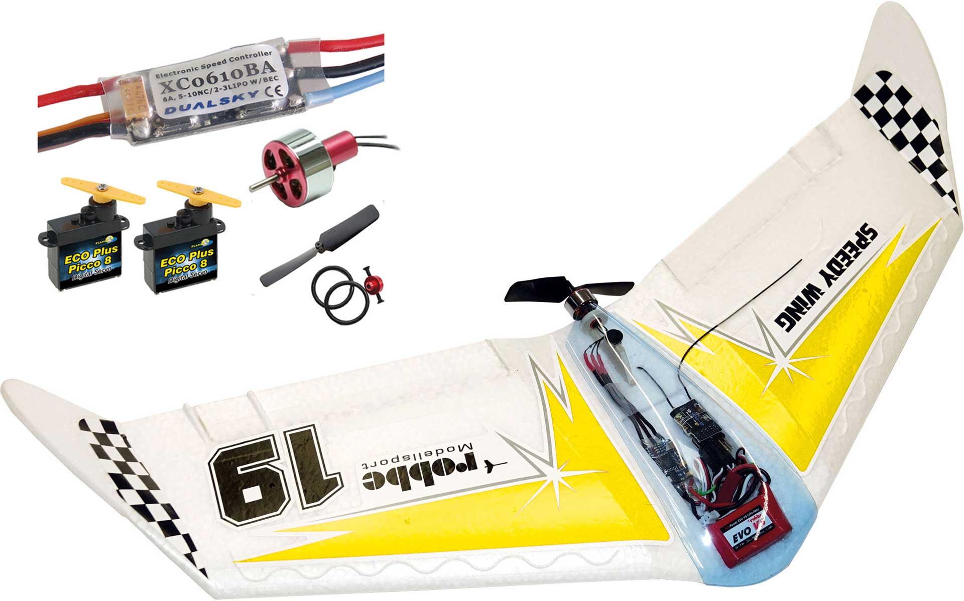MODELLBAU LINDINGER SPEEDY WING Gelb Bausatz mit Antrieb und Servos