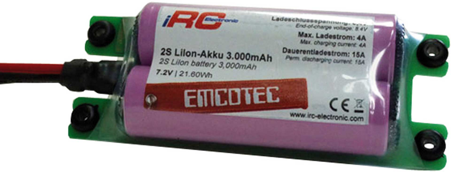 EMCOTEC LION BATTERY PACK 3000 MAH 2S 7.2V COMP ACT 15A WITH MPX AND EH PLUG
