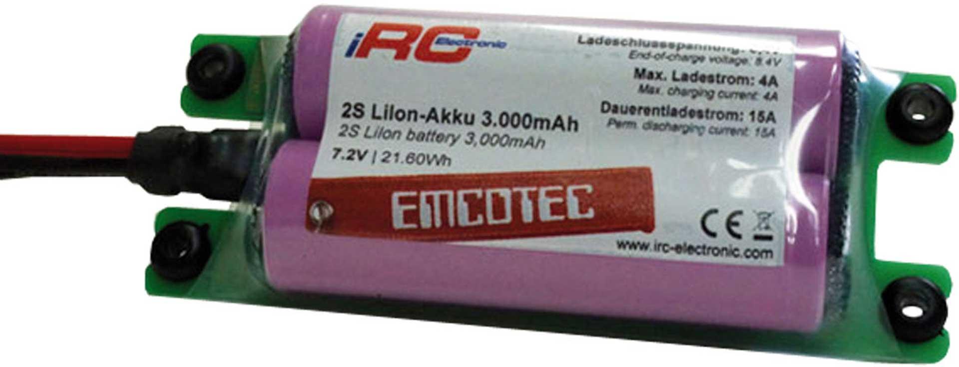 EMCOTEC LION AKKU 3000 MAH 2S 7,2V COMPACT 15A
