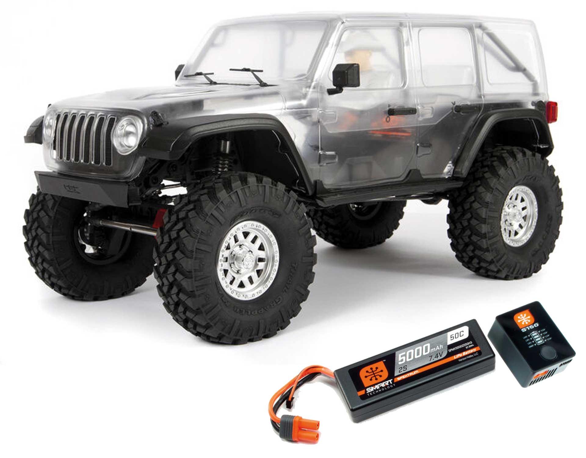 AXIAL SCX10III Jeep JLU Wrangler mit Portalachsen 1/10 4WD Kit + Spektrum 2S Powerstage-Bundle