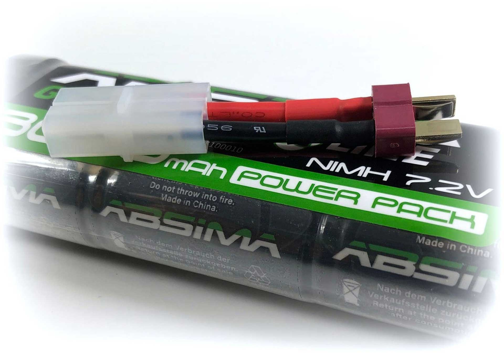 ABSIMA GREENHORN NIMH STICK PACK 7.2V 3000MAH BATTERY WITH T-PLUG CONNECTOR + TAMIYA ADAPTER