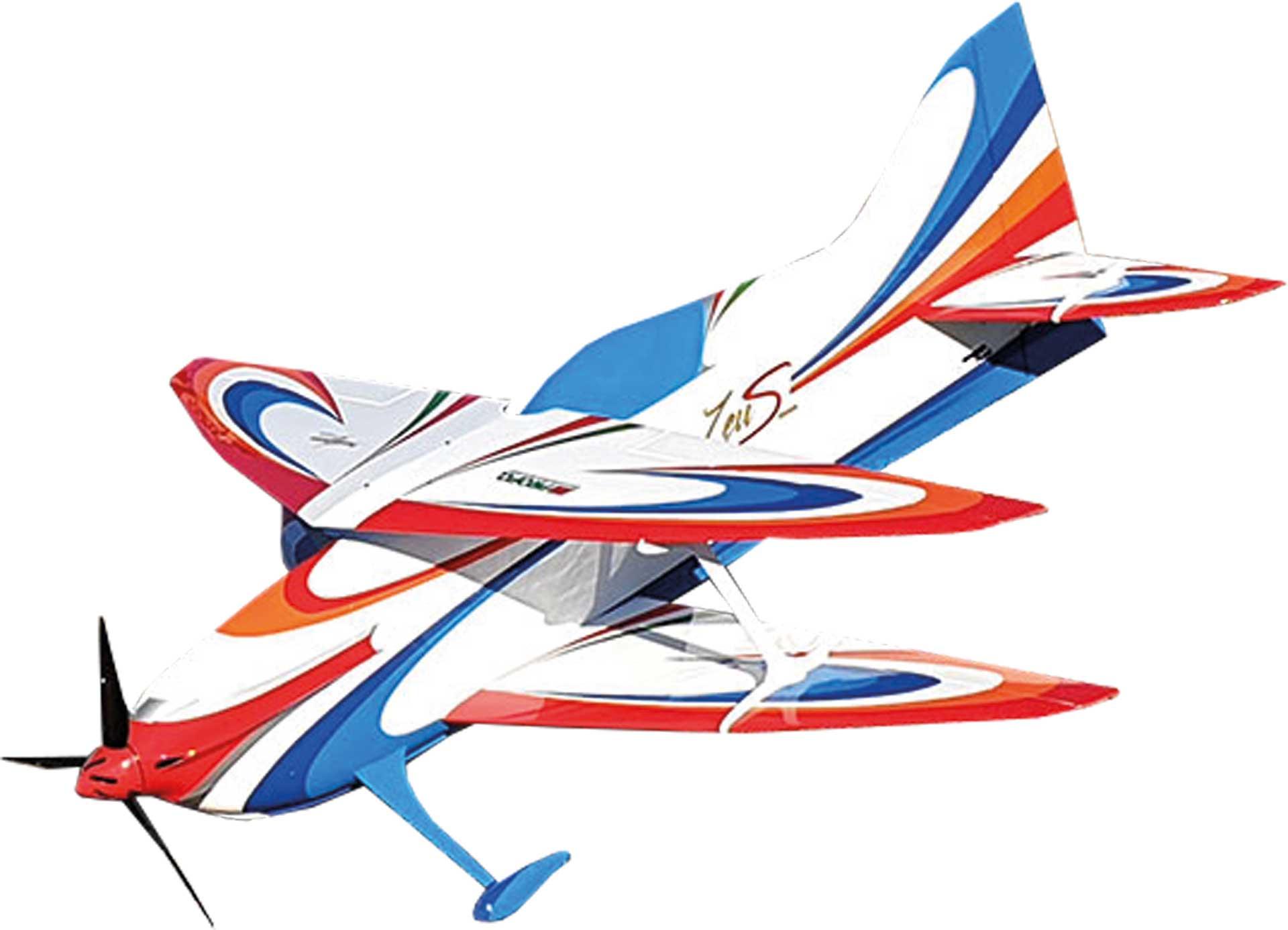SEBART ZeuS 2m F3A Biplan RC blanc / bleu /rouge  avec  composite kit en bois ARF