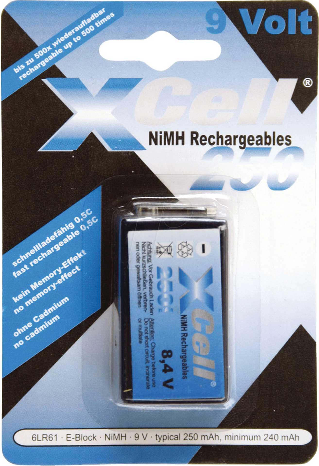 XCELL 9V BLOCK BATTERY 250MAH NIMH