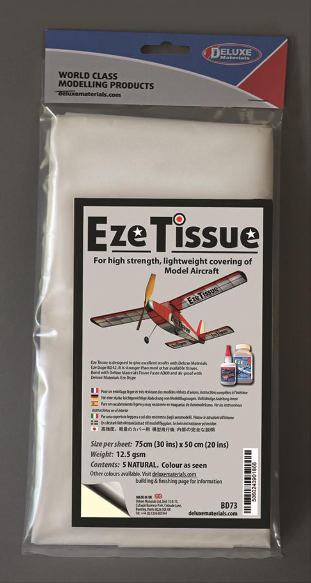 DELUXE Eze Tissue Natur Bespannpapier 75x50xm 5Stk. ab 12,5 g/m²
