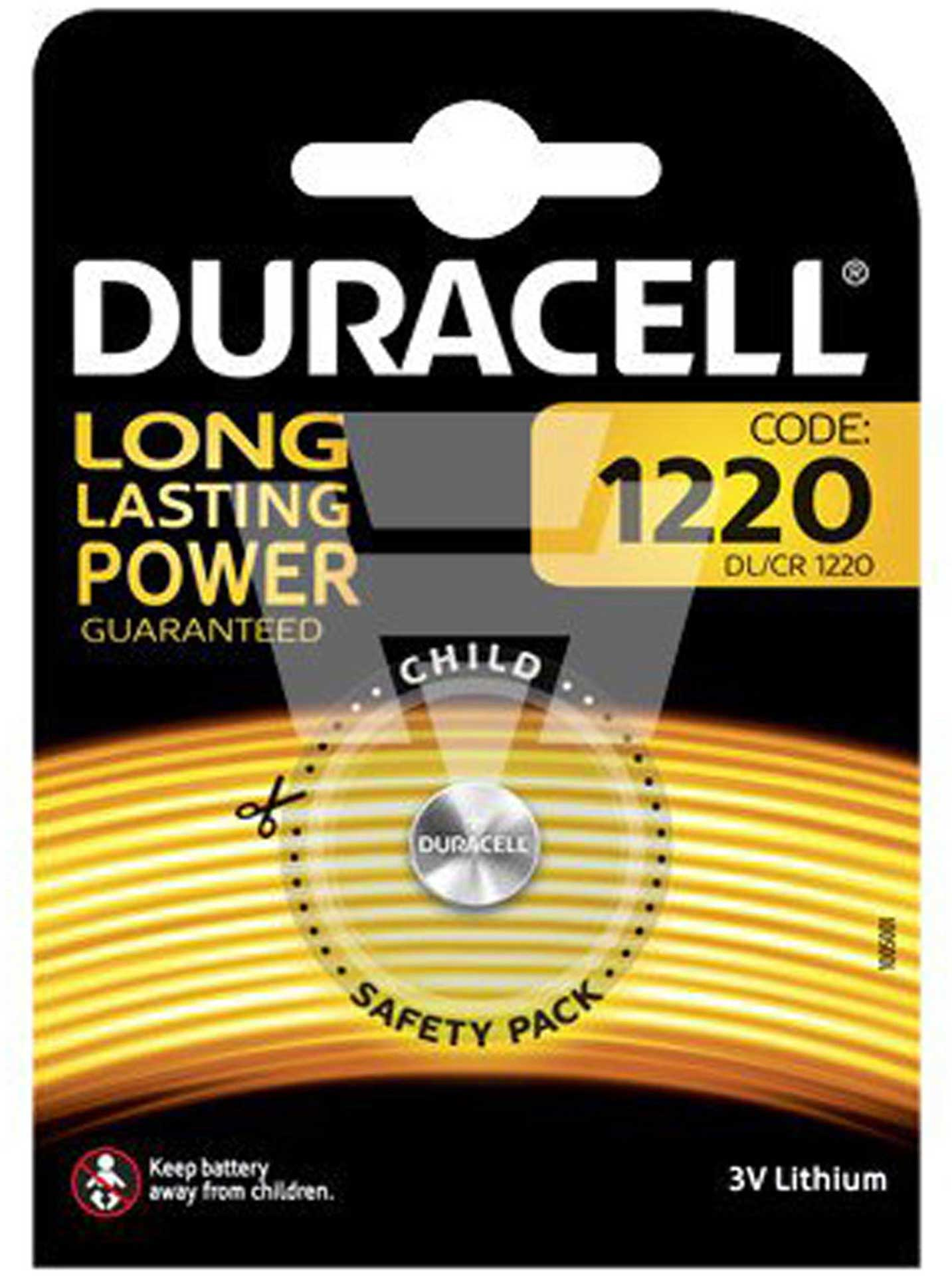 DURACELL LITHIUM BUTTON CELL BATTERY CR1220 EP 3 V 1PCS 35MAH LITHIUM