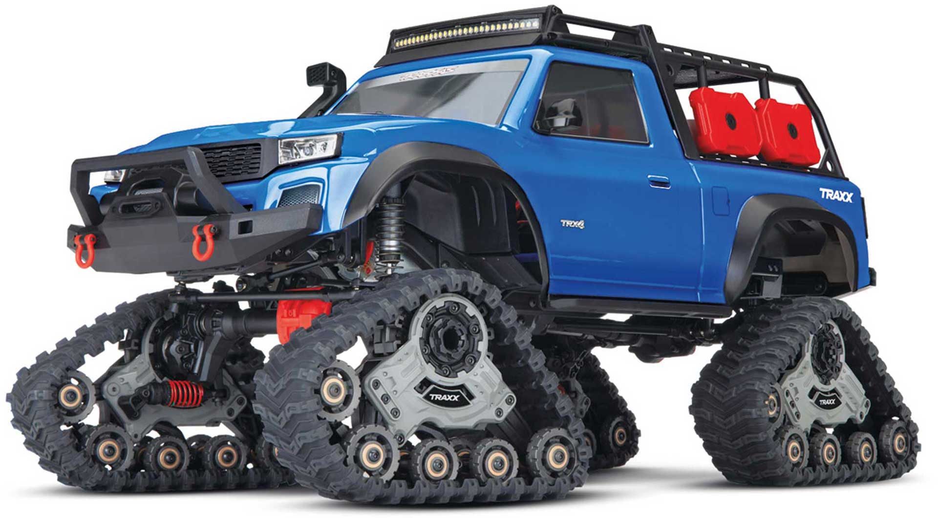 TRAXXAS TRX-4 WITH TRAXX CHAINS SKIRT CRAWLER BLUE 1/10 4X4 WATERPROOF 2,4GHZ TQ TRANSMITTER, TRACKED VEHICLE