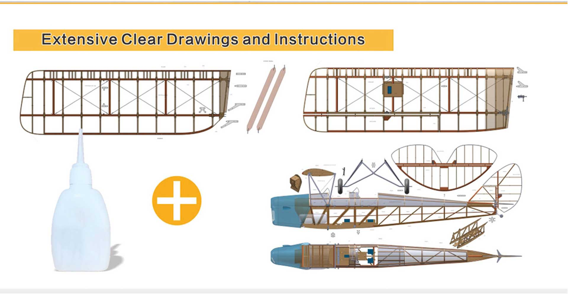VALUEPLANES TIGER MOTH DEHAVILLAND DH82A WOODEN CONSTRUCTION SET 1:3,8 2,36M WITH METAL FITTINGS AND GFK HOOD