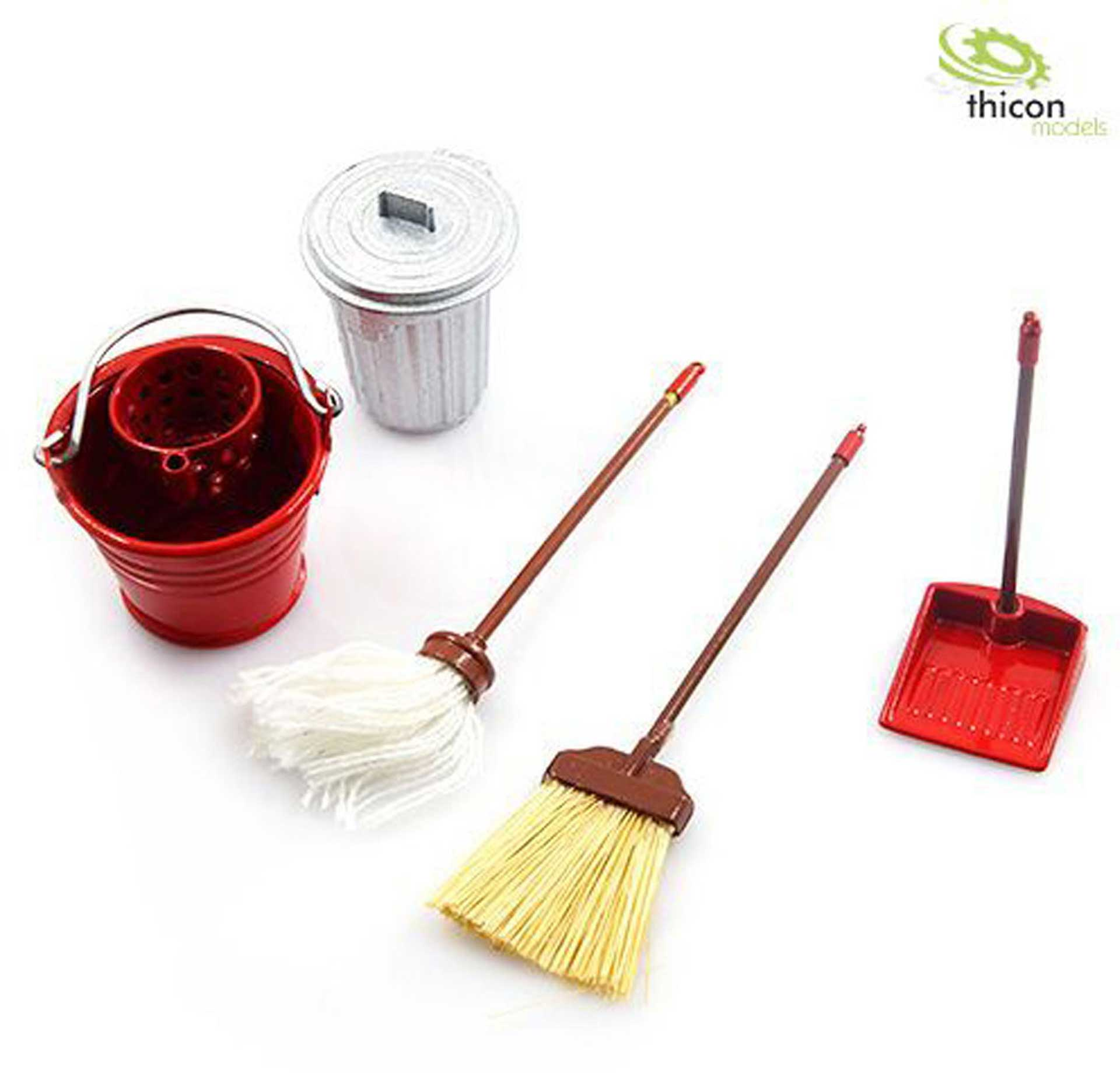 THICON-MODELS 1:10/1:14 CLEANING -SET WITH BROOM  AND METAL BUCKET