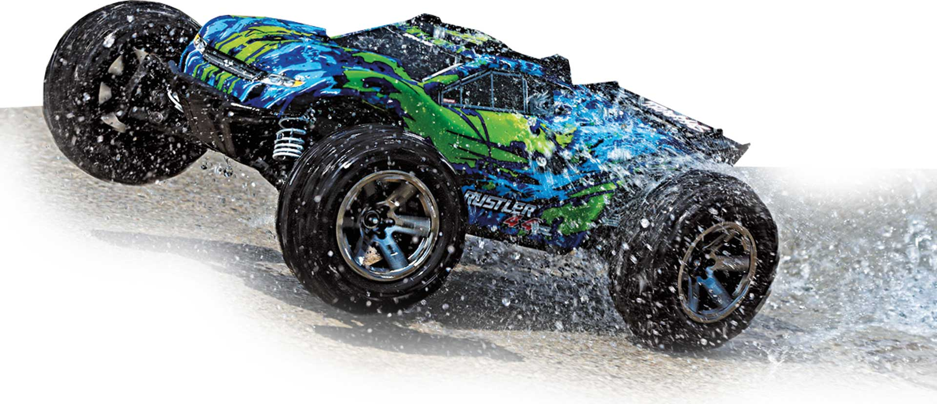 TRAXXAS RUSTLER 4X4 BRUSHLESS VXL GREEN / BLUE RTR 1/10 WITHOUT BATTERY, LINK CAPABLE