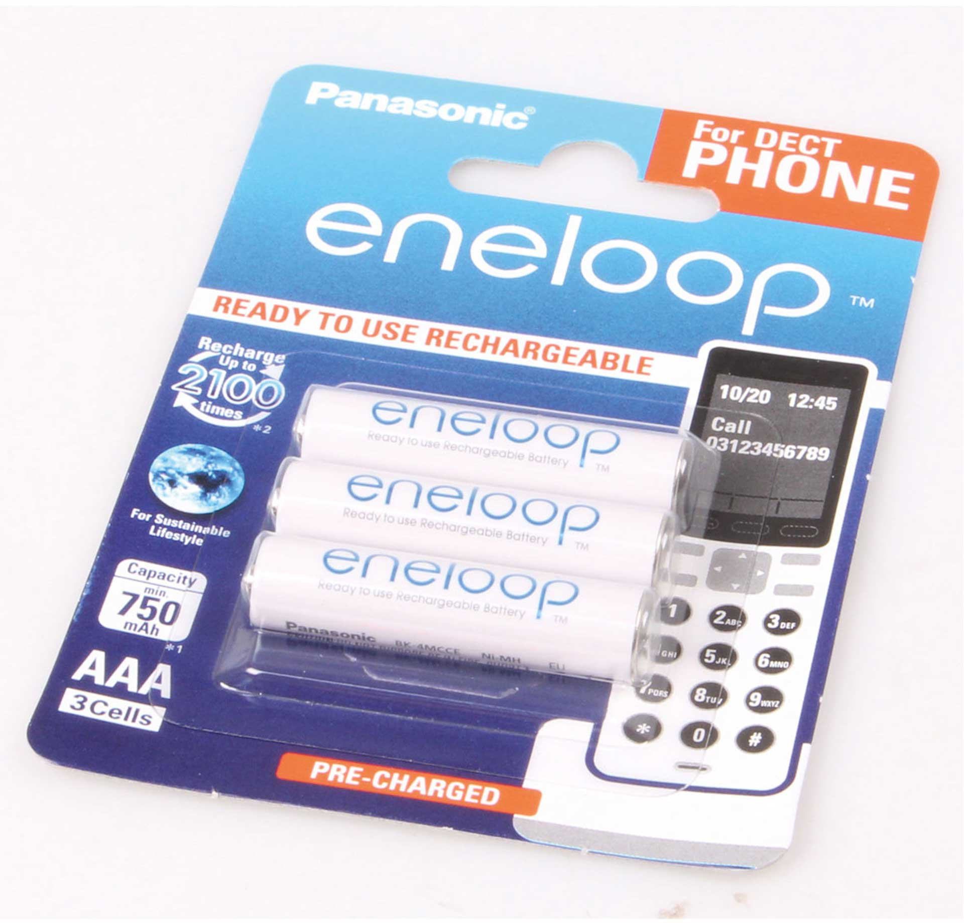 PANASONIC ENELOOP MICRO AAA 800 MAH 1,2 VOLT DECT 3Stk.