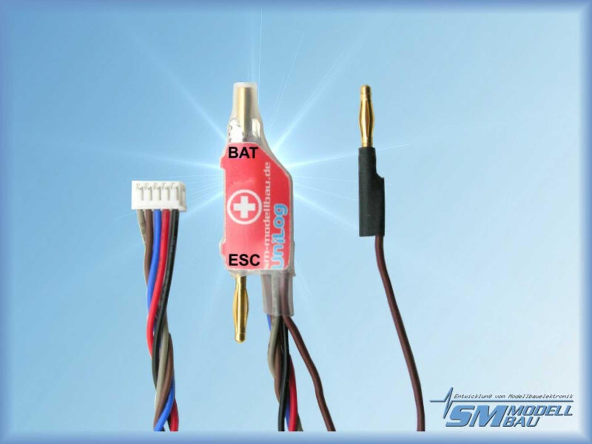 SM-Modellbau Unilog Stromsensor 40A 2mm Goldstecker (für Akkus mit Stecker am Pluspol)