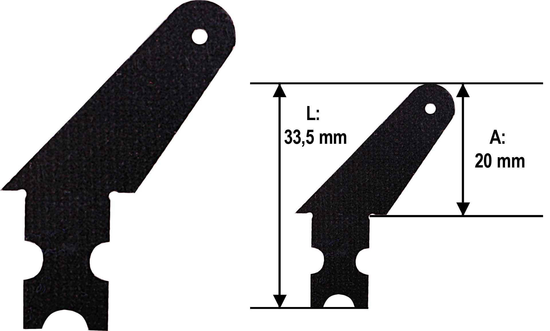 MODELLBAU LINDINGER GFK Ruderhorn 16mm Set 10Stk. 1,5mm GFK schwarz