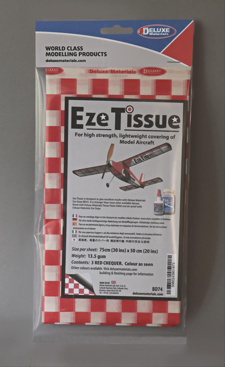 DELUXE Eze Tissue Rot Karo Bespannpapier 75x50xm 3Stk. ab 12,5 g/m²