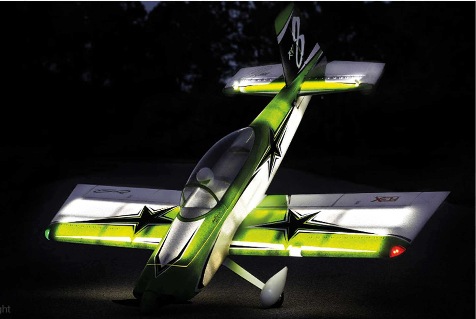 PREMIER AIRCRAFT RV-8 60E Super PNP Night mit AURA 8 und Nachtflugbeleuchtung grün