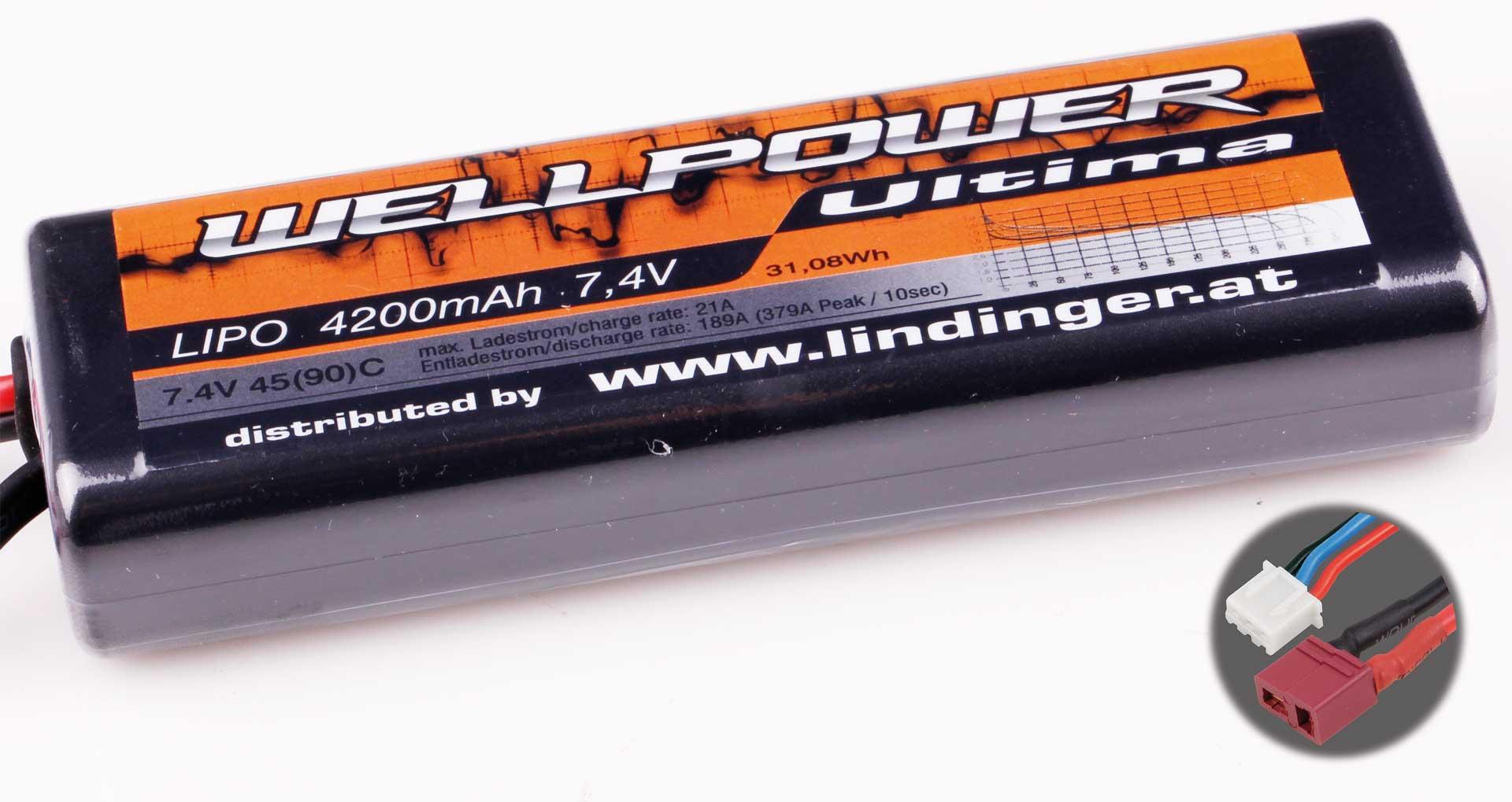 Wellpower Lipo Akku ULTIMA CAR 4200 mAh / 7,4 Volt 2S 45/90C CH5 mit T-Stecker
