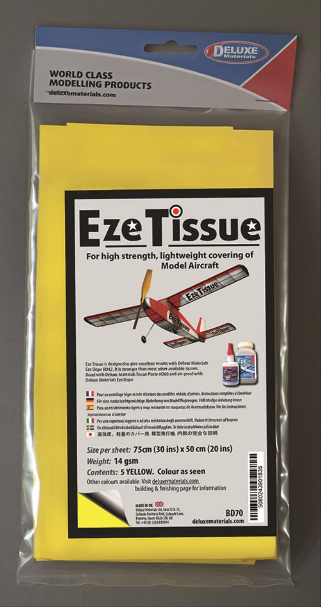 DELUXE Eze Tissue Gelb Bespannpapier 75x50xm 5Stk. ab 12,5 g/m²