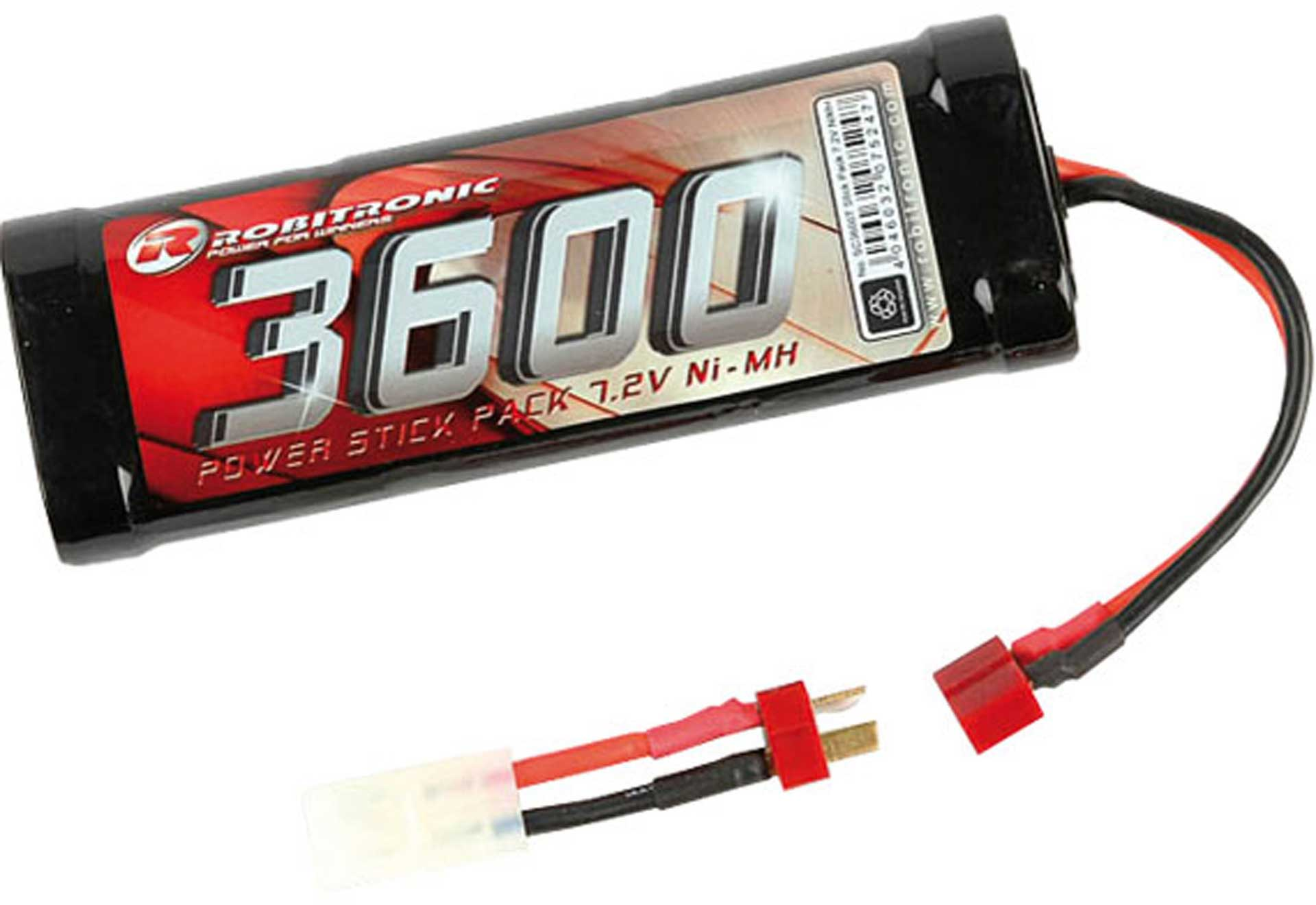 ROBITRONIC NI-MH 7.2 VOLT 3600MAH STICK PACK BATTERY  2 PLUG SYSTEM TAMIYA AND T-PLUG