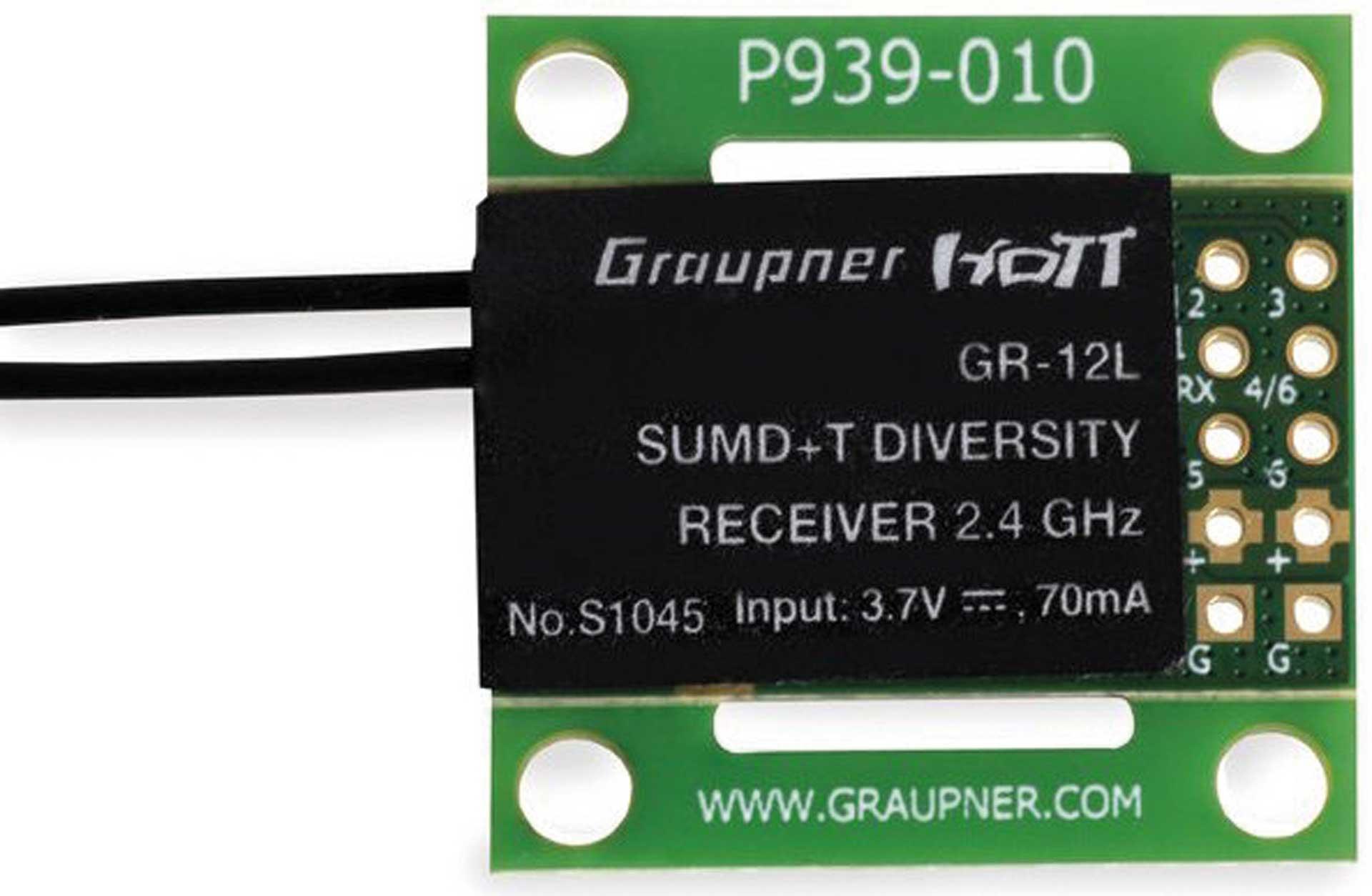 GRAUPNER GR-12L SUMD+T 2 Antennen PCB Empfänger