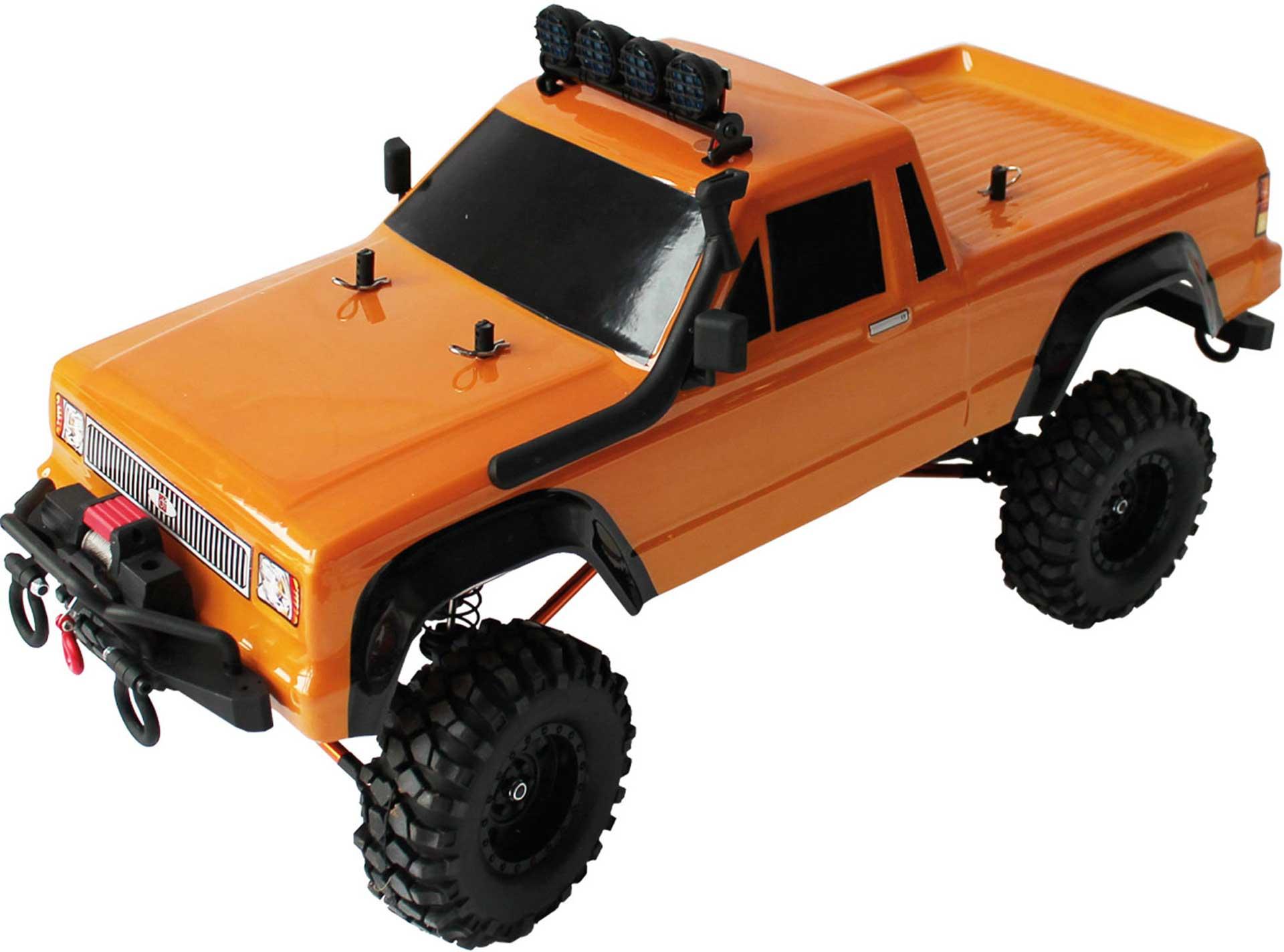 DRIVE & FLY MODELS DF-4S V2 PICK UP CRAWLER ORANGE 1/10 RTR 4WD MIT SEILWINDE UND 2-GANG GETRIEBE