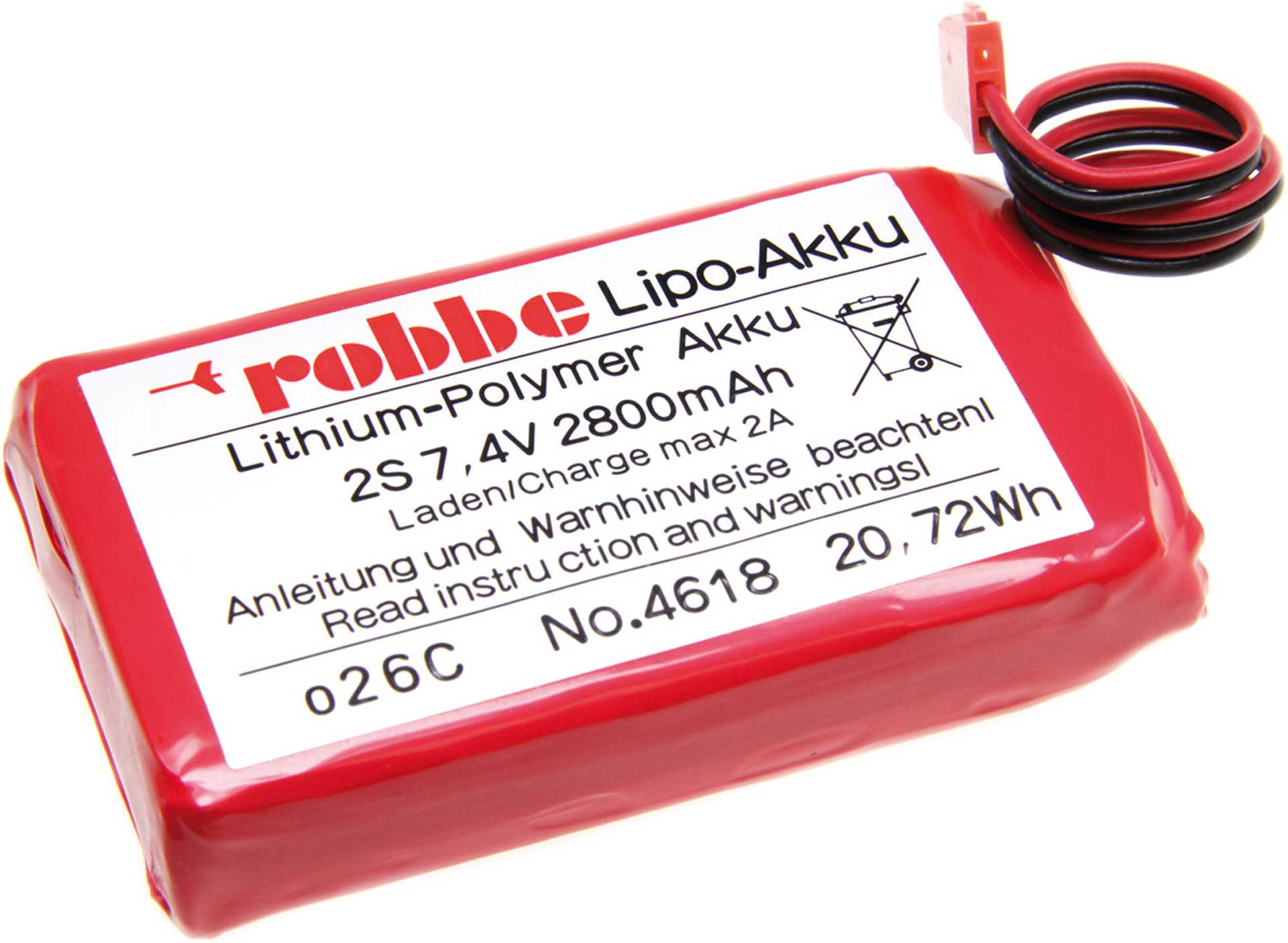 ROBBE LIPO BATTERY  PACK TRANSMITTER BATTERY 7,4 VOLT 2S 2800 MAH FOR T6J / T8J / T4PKS / T4PKS-R / T14SG